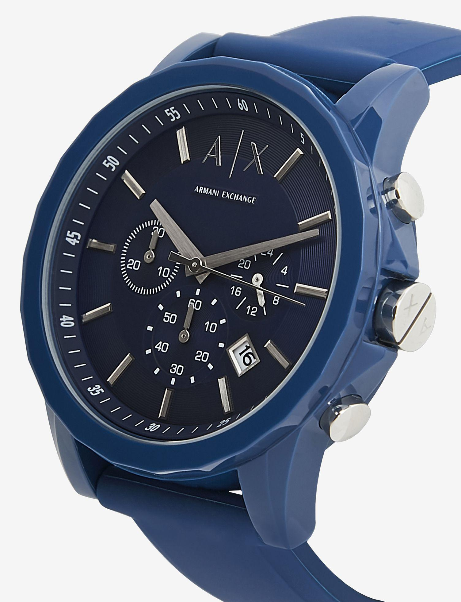 9bfb4c291857 Lyst - Armani Exchange Chronograph Blue Silicone Strap Watch With LUGGAGE  Tag Set in Blue for Men