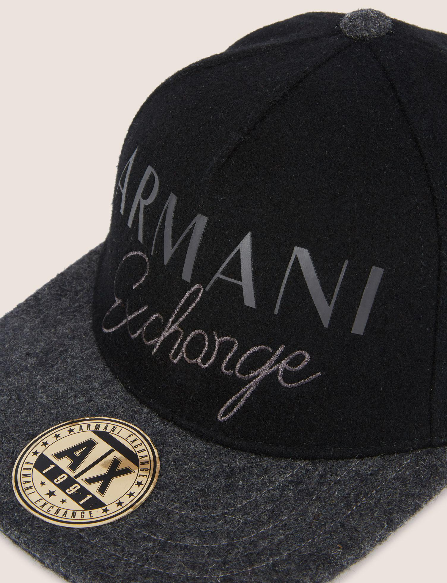3eda012170e Lyst - Armani Exchange Embroidered Script Logo Hat in Black for Men