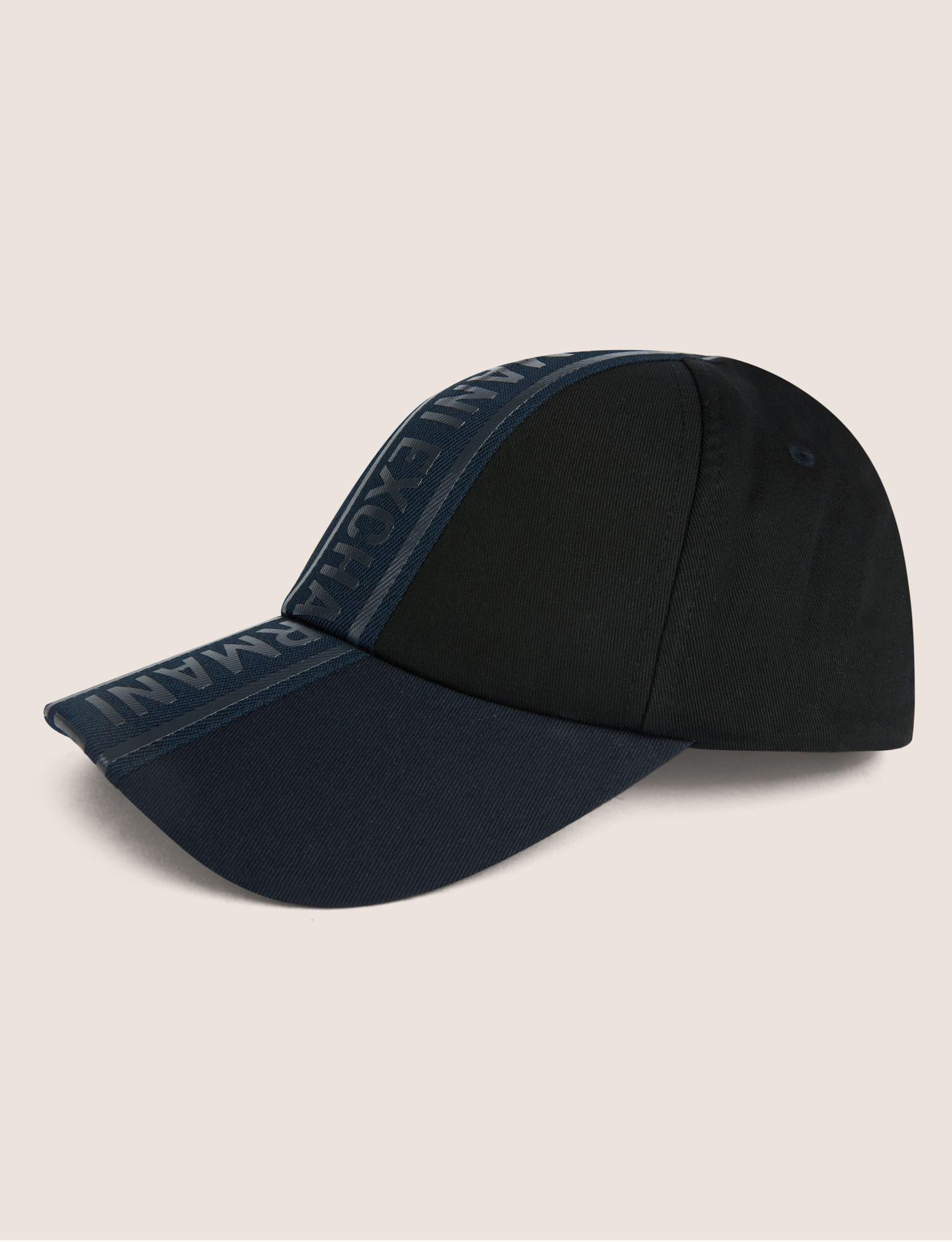 Lyst - Armani Exchange High-shine Logo Tape Hat in Black for Men 52b21c90f19e