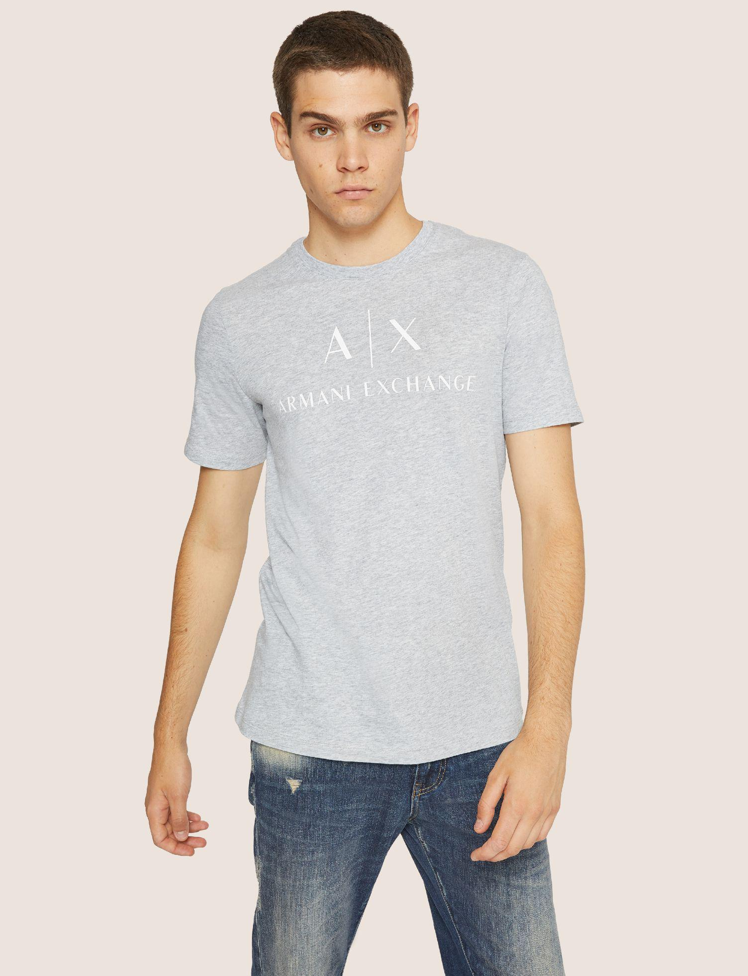 11b51ff3ea5 Lyst - Armani Exchange Classic Logo Crewneck Tee in Gray for Men