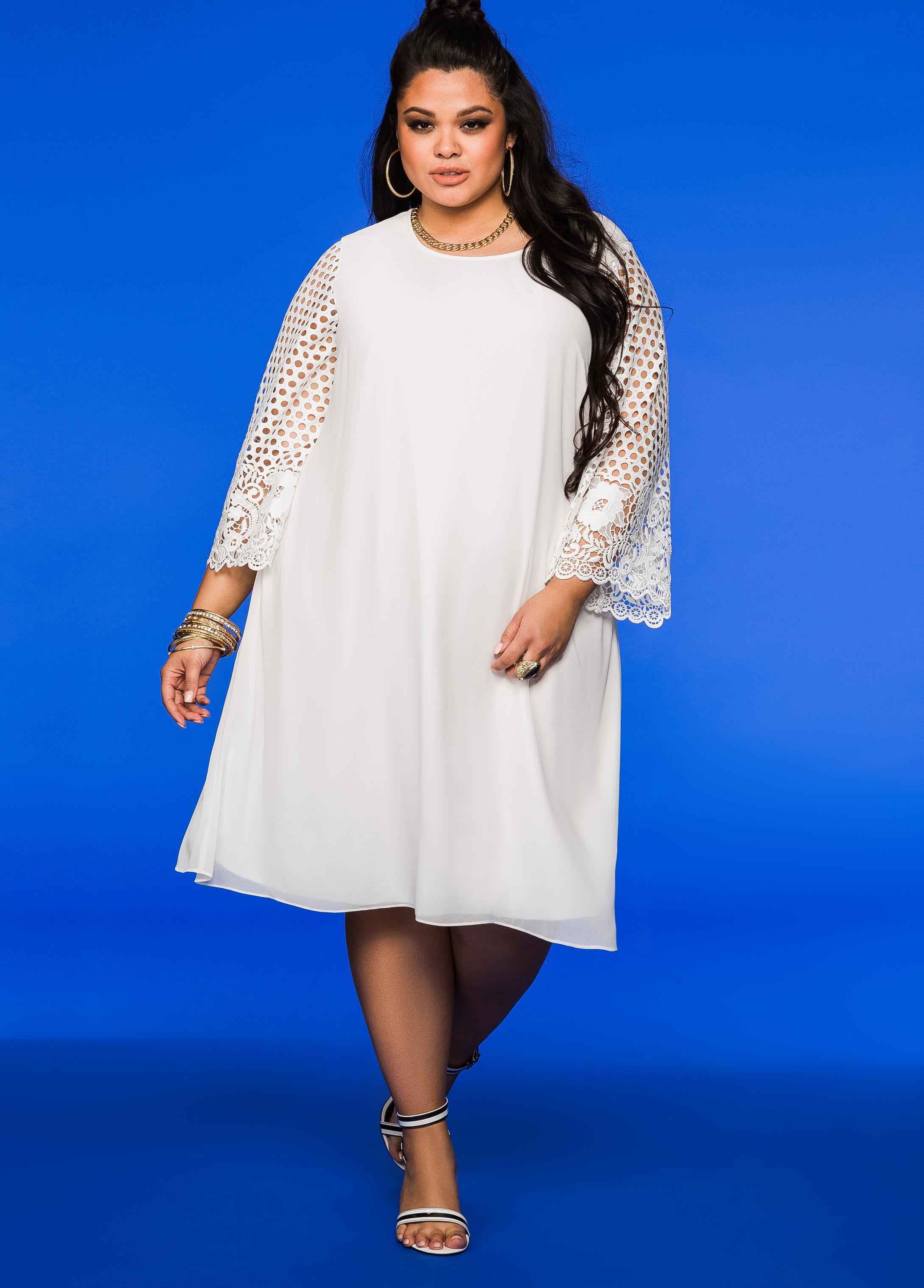 Ashley Stewart Lace Sleeve Chiffon Dress In White Lyst