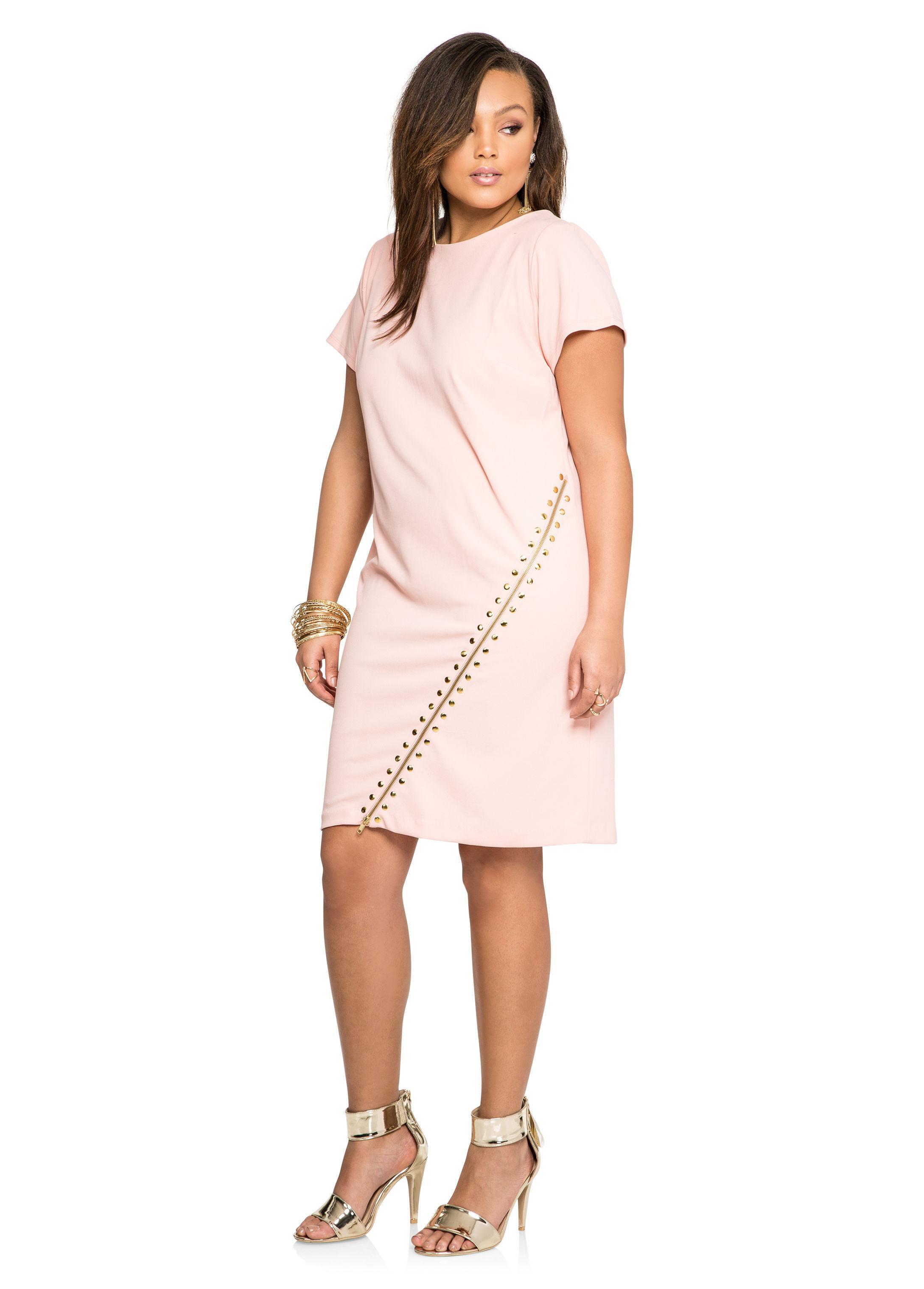 Ashley Stewart Stud Exposed Zip Sheath Dress In Pink Lyst
