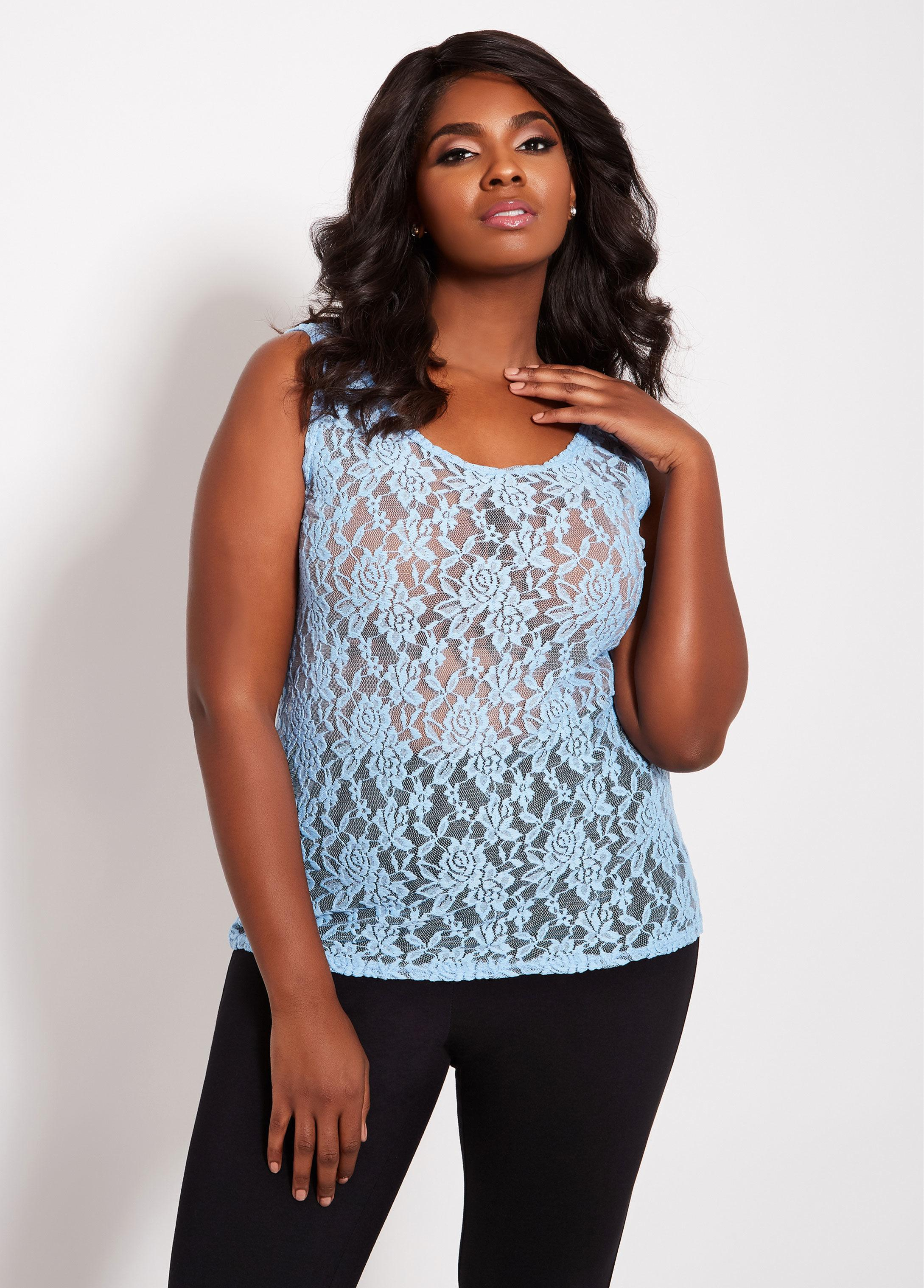 0d23616dca0 Lyst - Ashley Stewart Plus Size Lace Cami in Blue