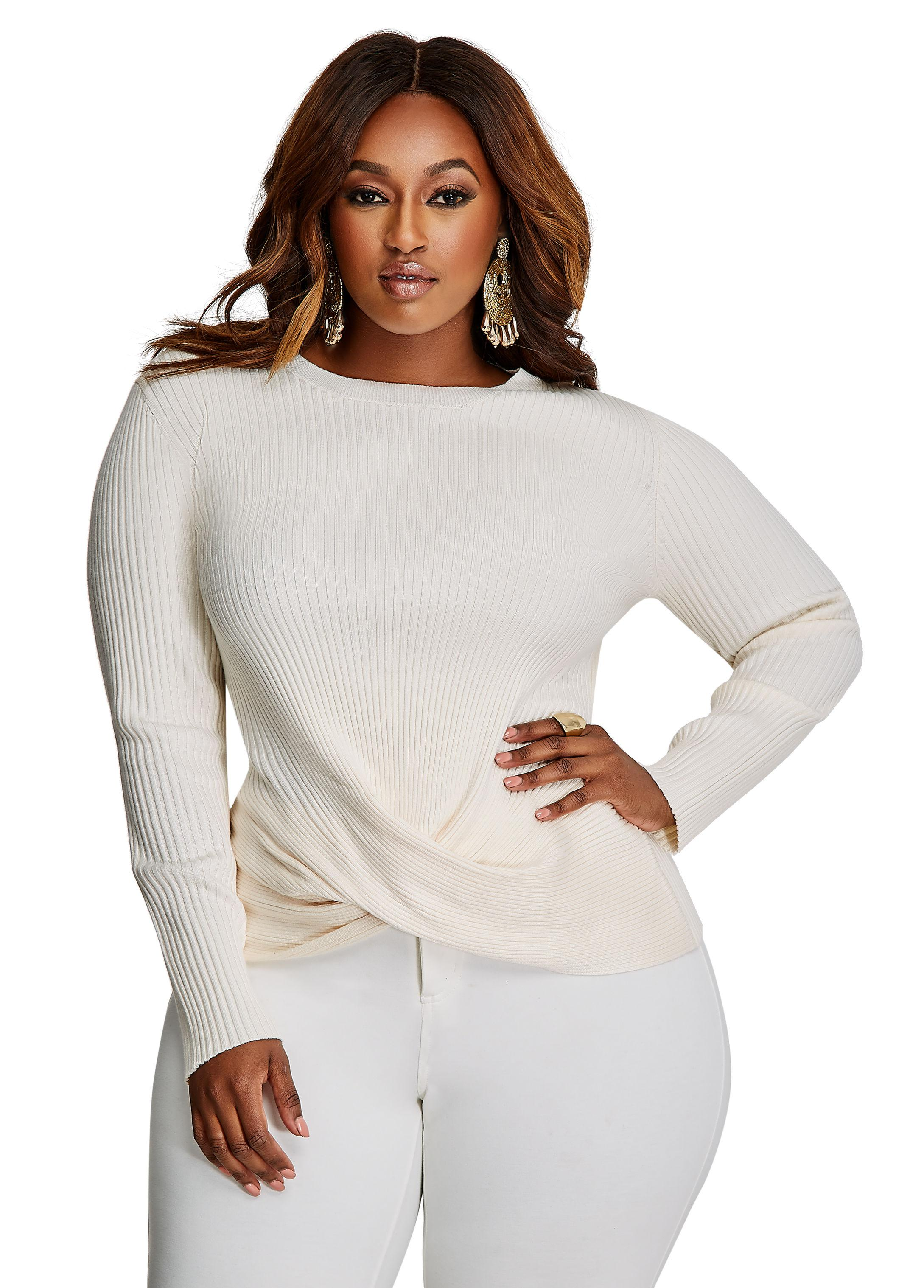 a641f2c5994 Lyst - Ashley Stewart Ribbed Sweater With Front Twist Hem in Gray