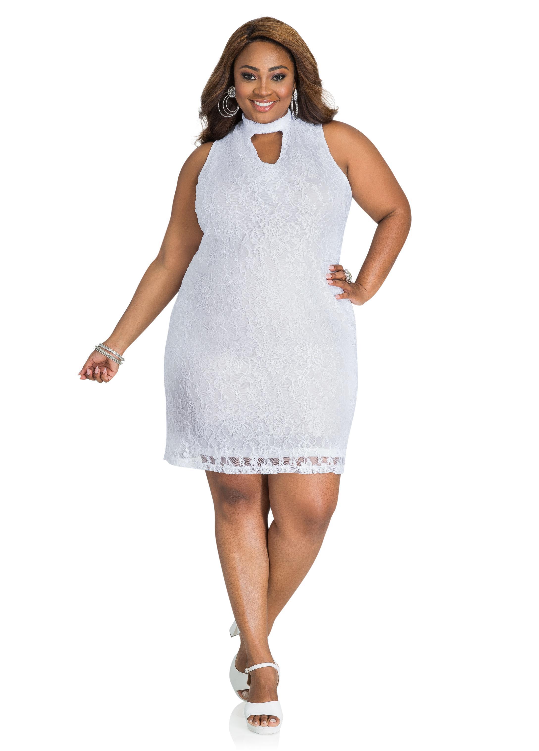 3ea783808e2 Lyst - Ashley Stewart Lace Mock Neck Sheath Dress in White
