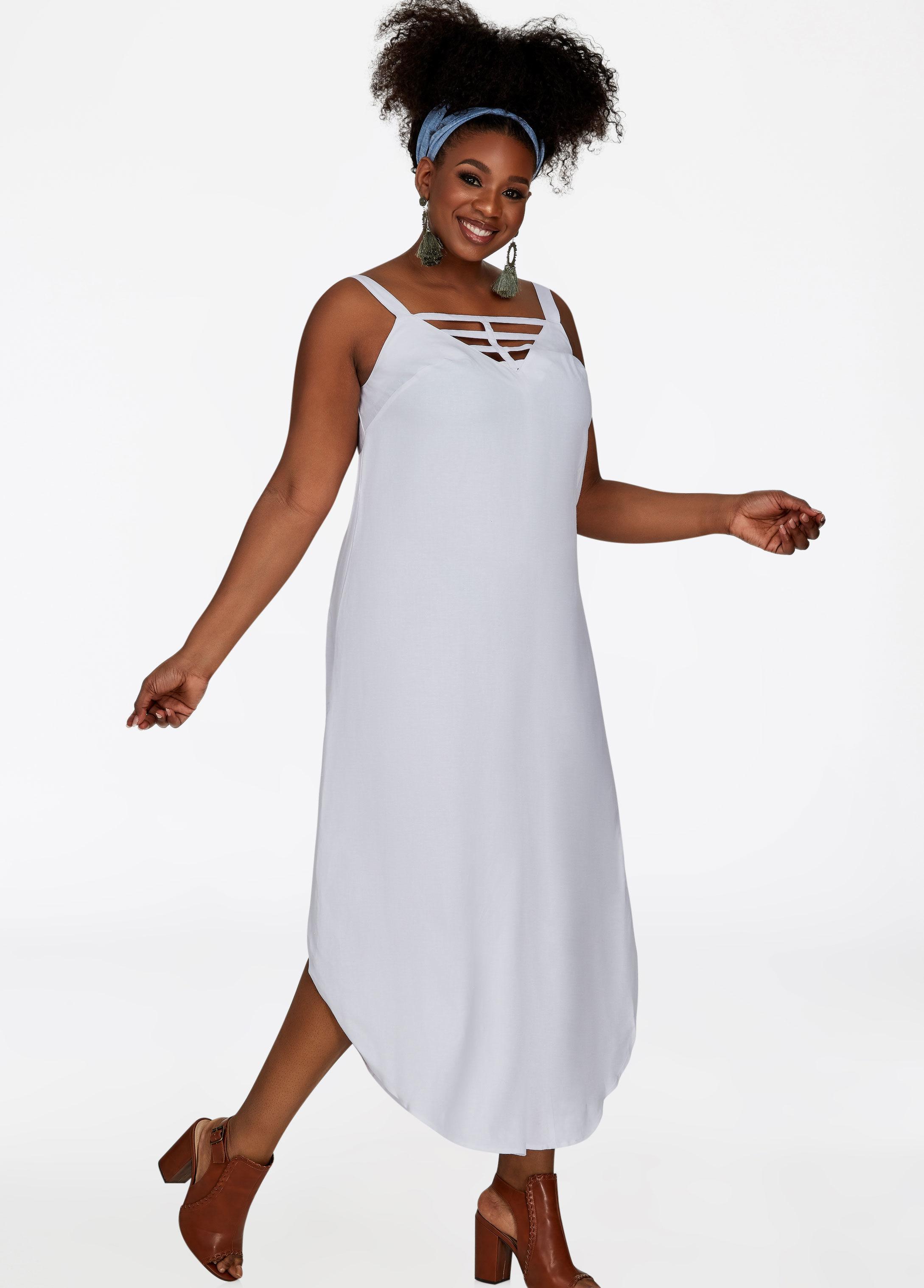 c5fc3a246993 Lyst - Ashley Stewart Lattice Linen Harem Jumpsuit in White