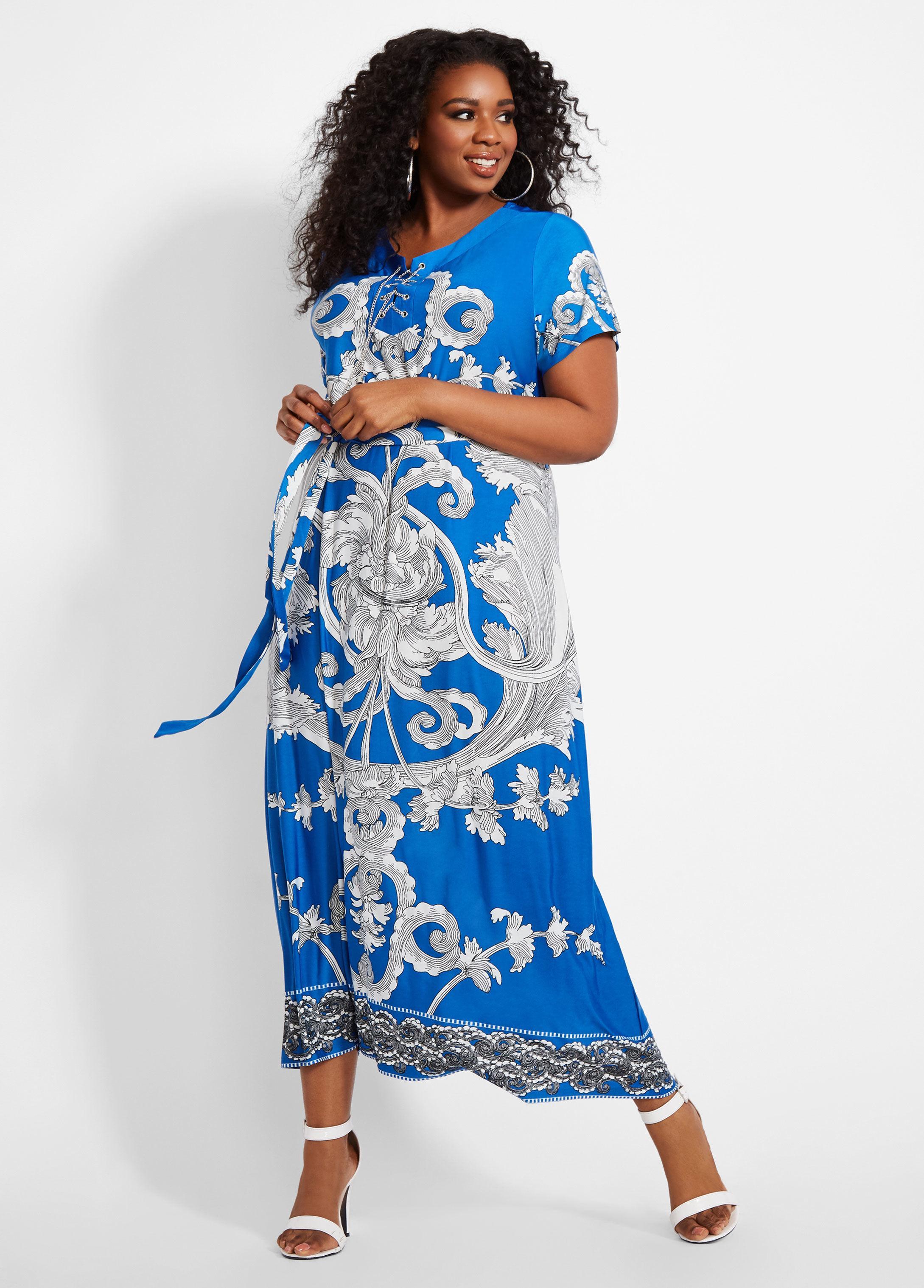 98b2d7b5d6f1 Lyst - Ashley Stewart Plus Size Chain Lace Up Printed Maxi Dress in Blue