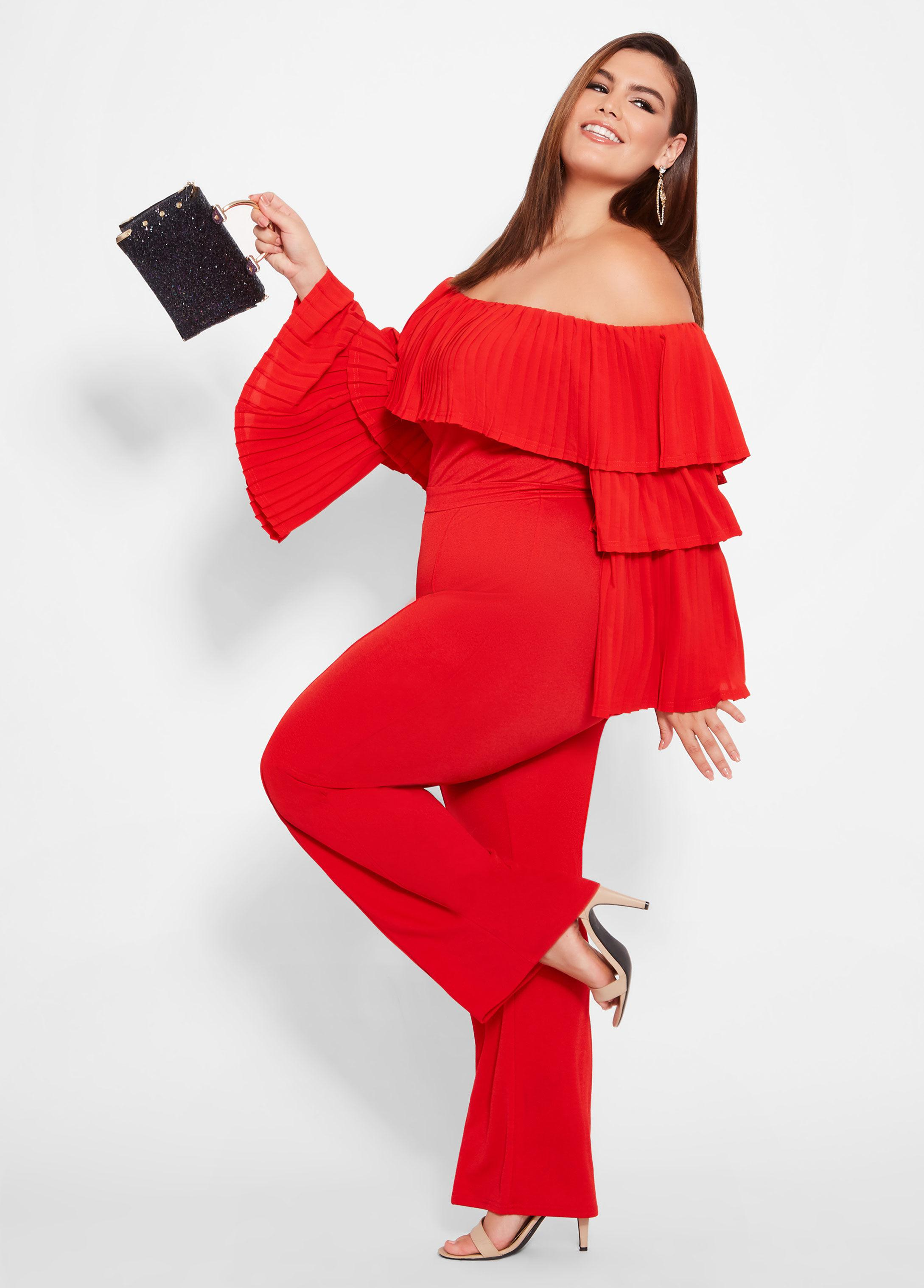 1db9d7e223c3 Lyst - Ashley Stewart Plus Size Tiered Off The Shoulder Jumpsuit in Red