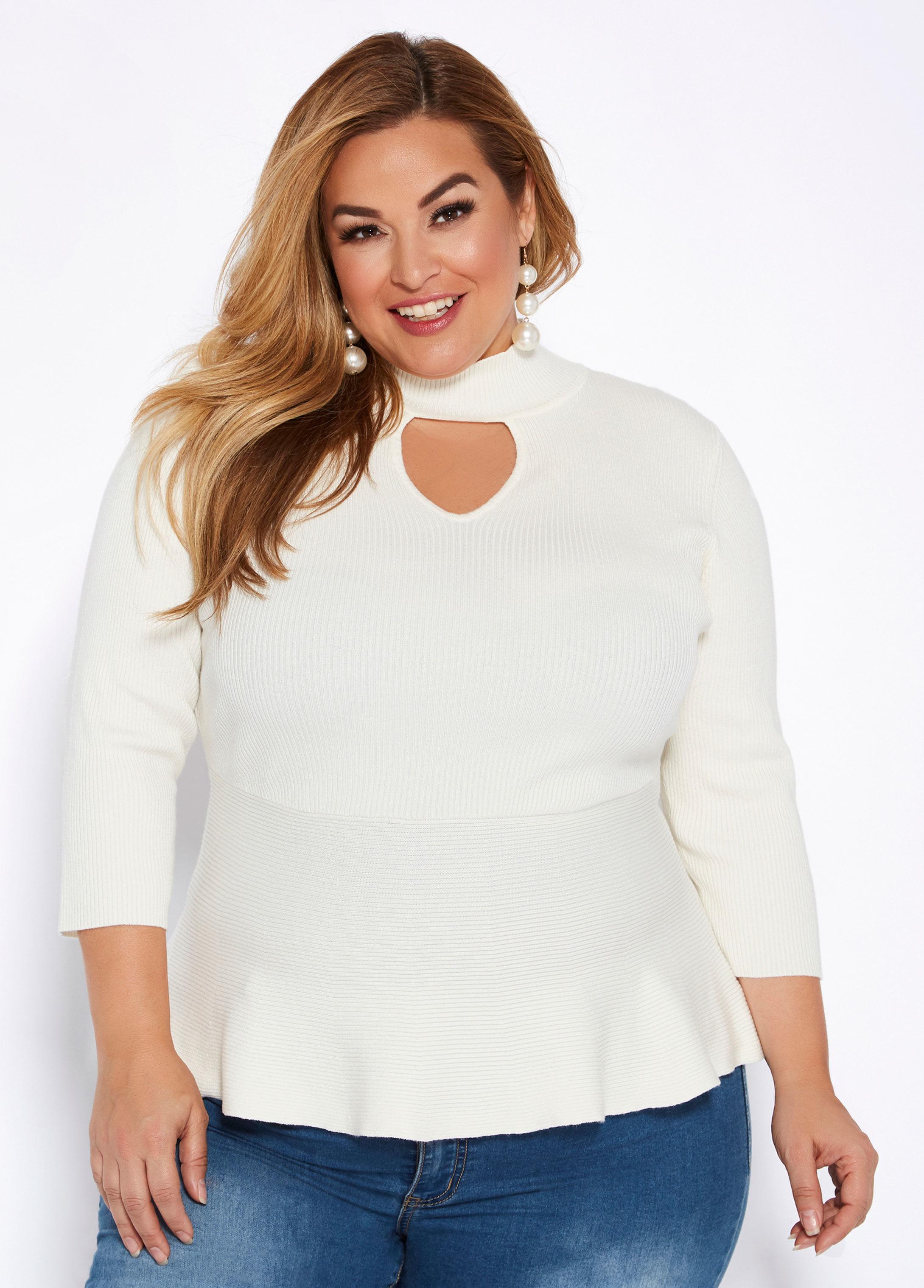 07edfd2a0 Lyst - Ashley Stewart Plus Size Mock Neck Peplum Sweater in White