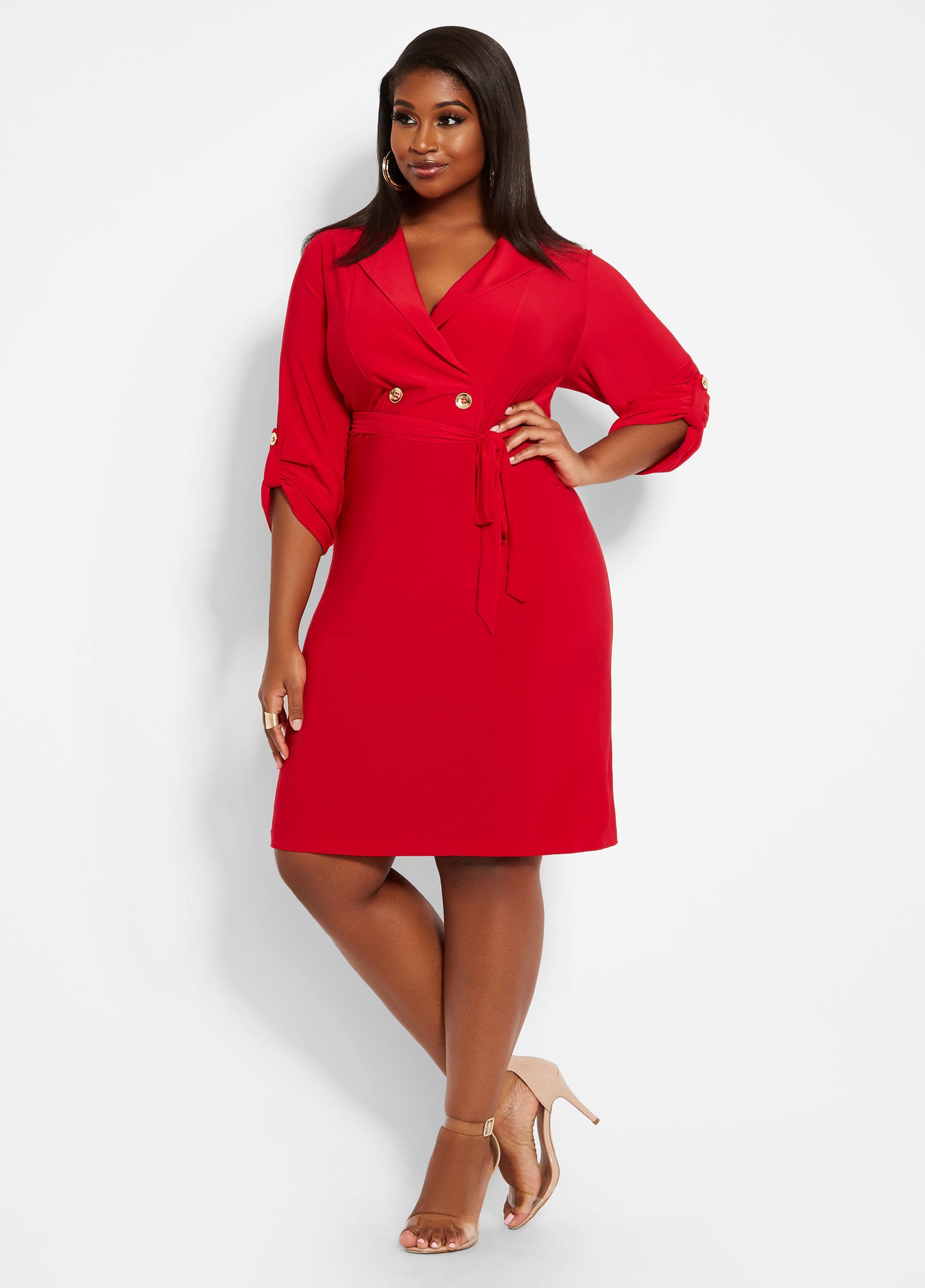100d9f9789b2e Ashley Stewart Plus Size Mock Coat Dress in Red - Lyst