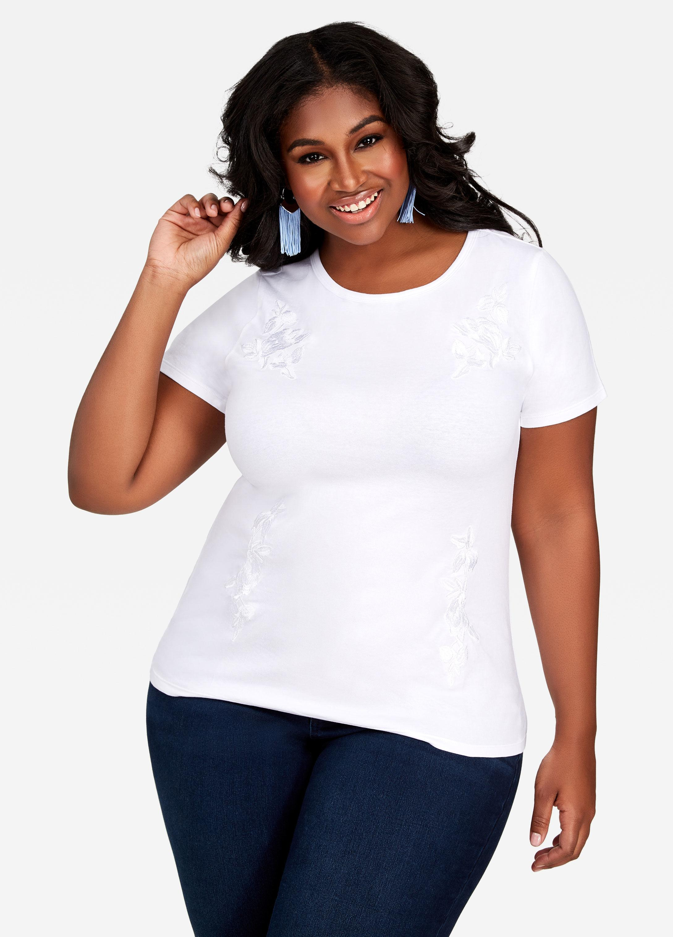 ea07f2f37dc Lyst - Ashley Stewart Plus Size Embroidered Flowers Tee Shirt in White