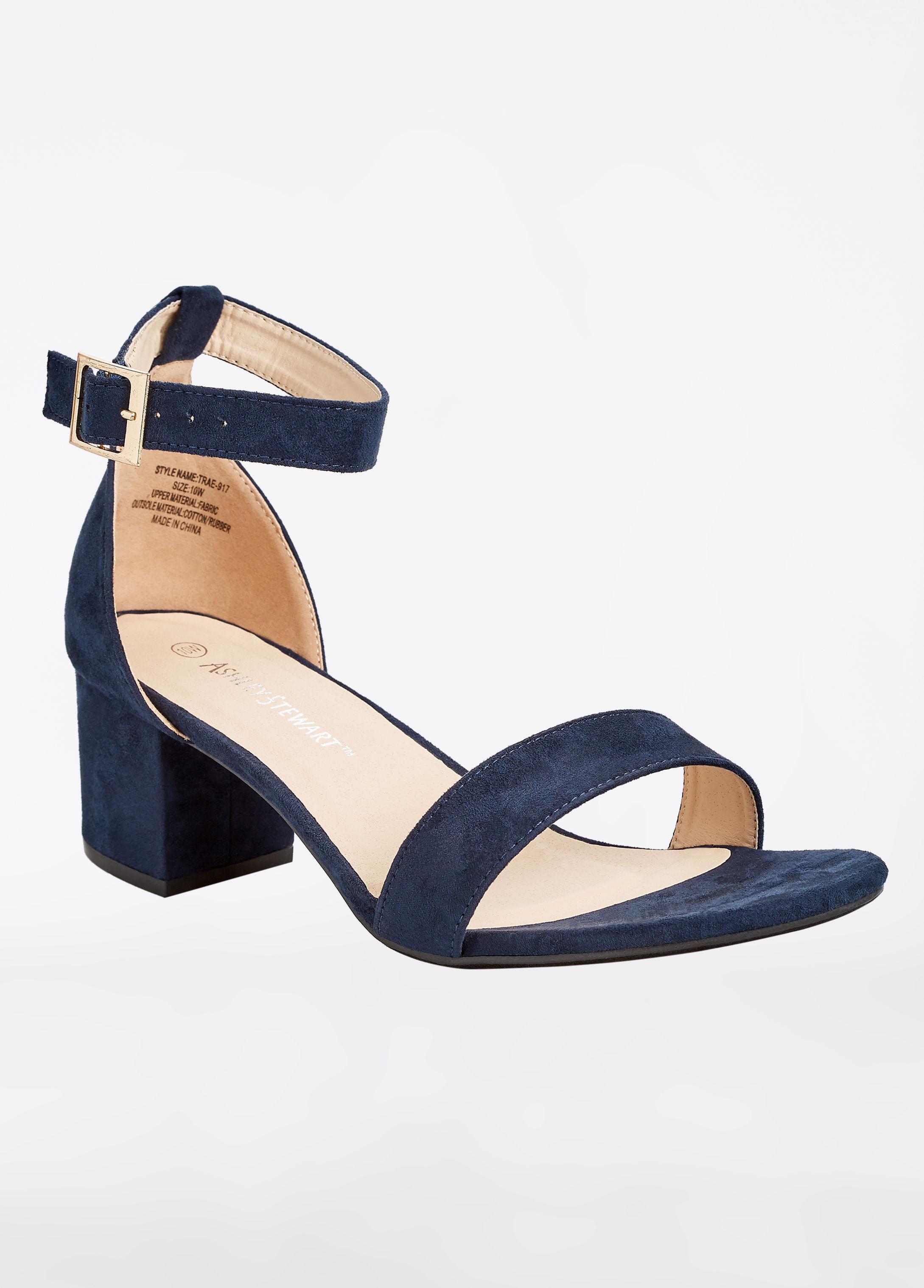 981835f321d Lyst - Ashley Stewart Faux Suede Block Heel Sandal - Wide Width in Blue
