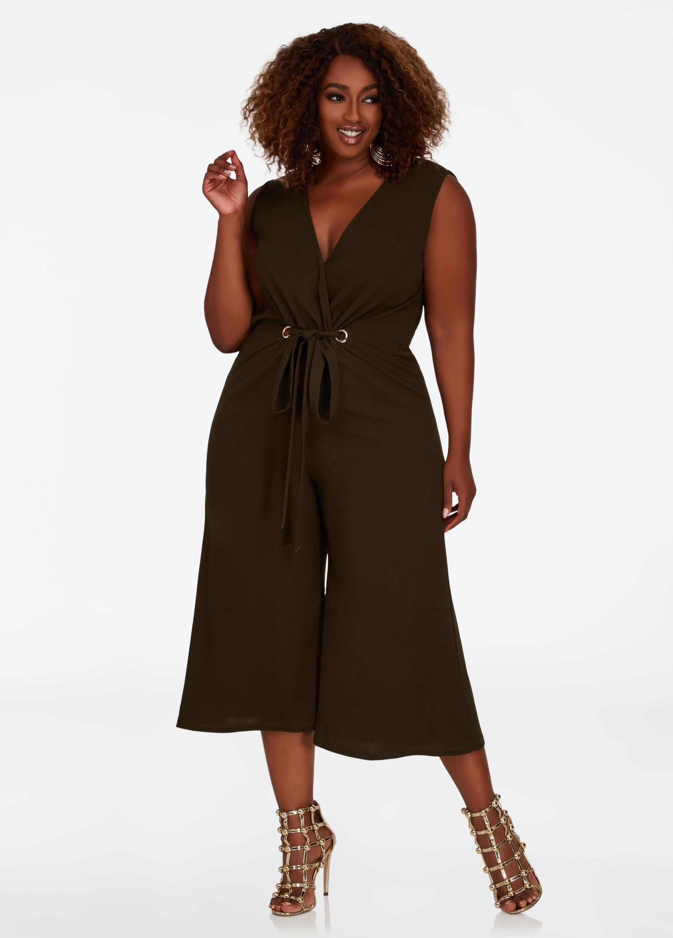 26b0205b30f Lyst - Ashley Stewart Grommet Tie Waist Jumpsuit in Brown