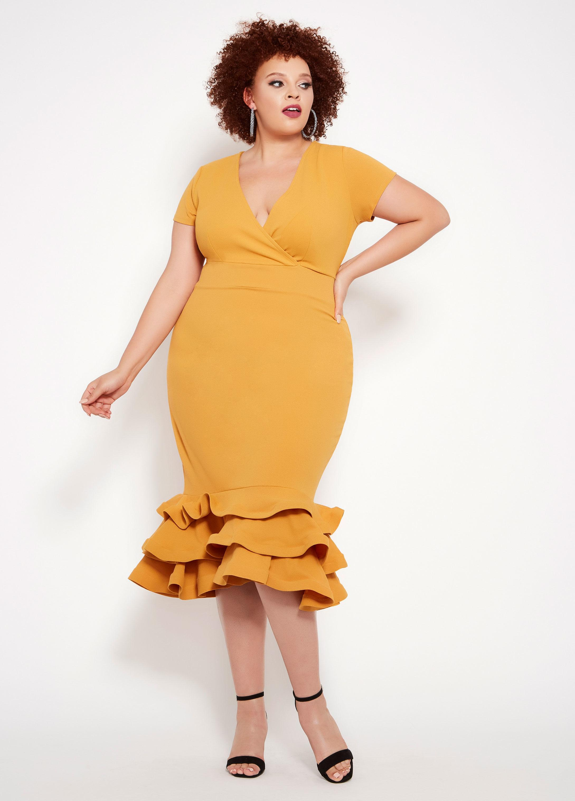 be4daa59c Lyst - Ashley Stewart Plus Size Surplice Ruffle Hem Dress