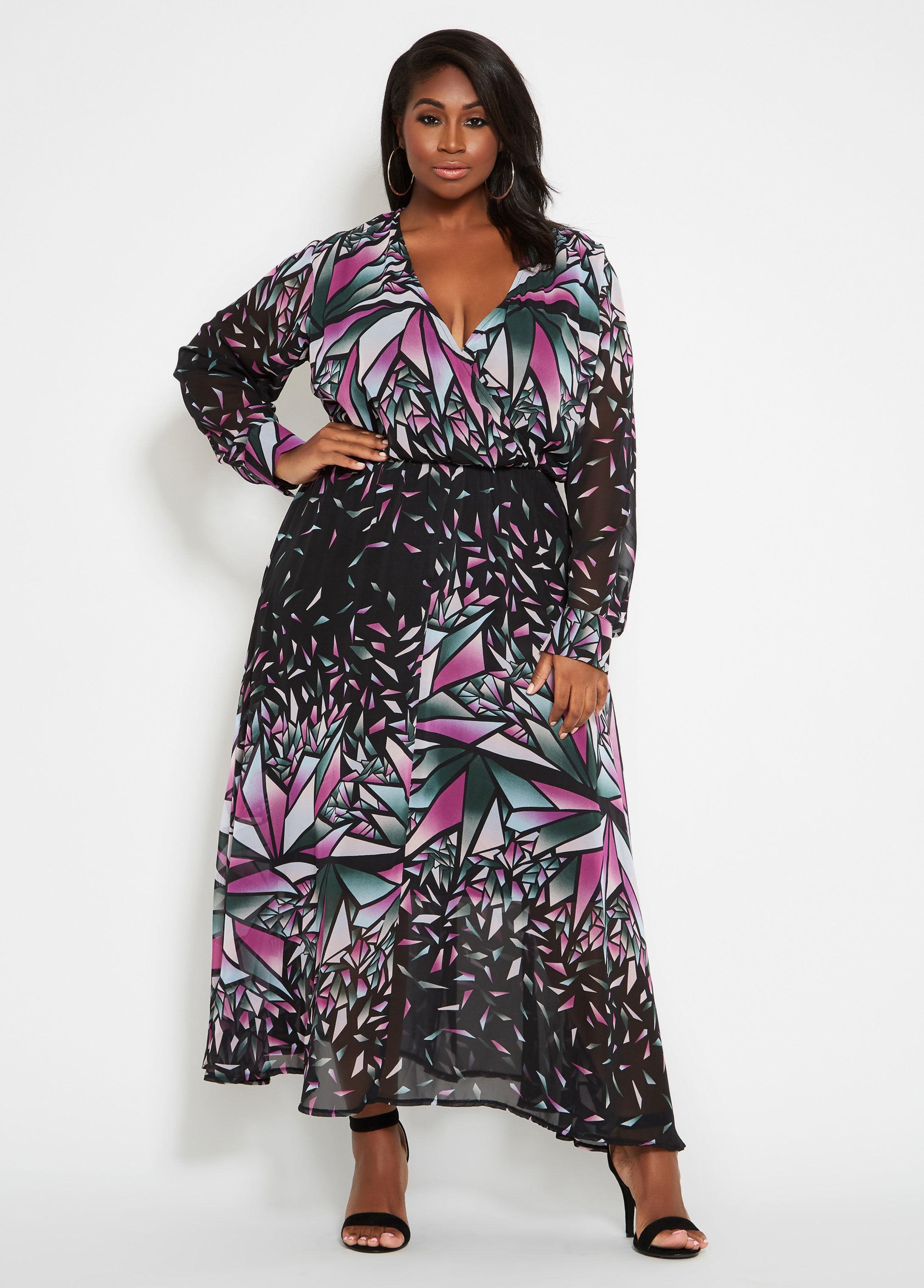 b788f3ea9e2 Ashley Stewart. Women s Plus Size Geo Print Wide Sweep Maxi Dress
