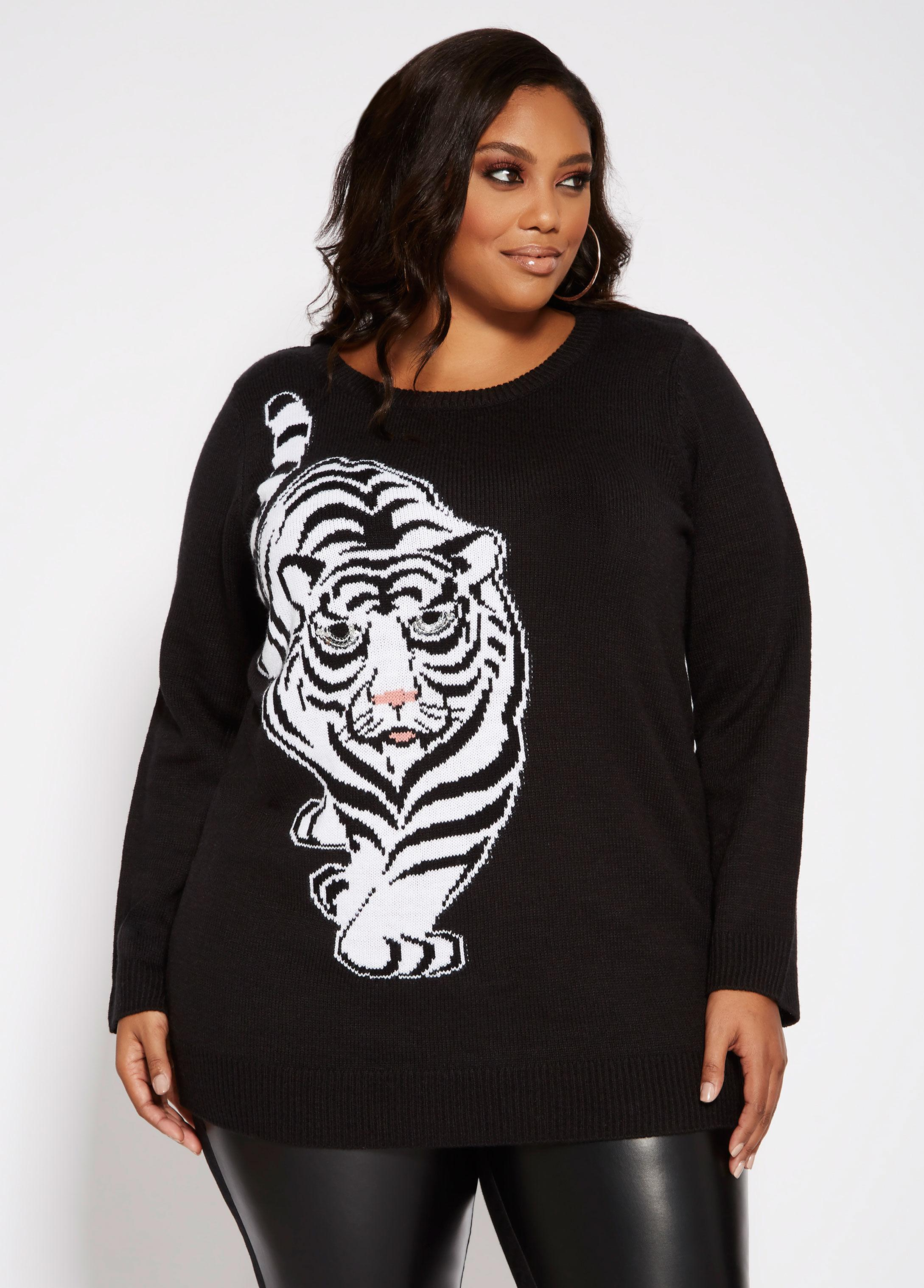 95135ccc763982 Lyst - Ashley Stewart Plus Size Sequin Tiger Sweater in Black