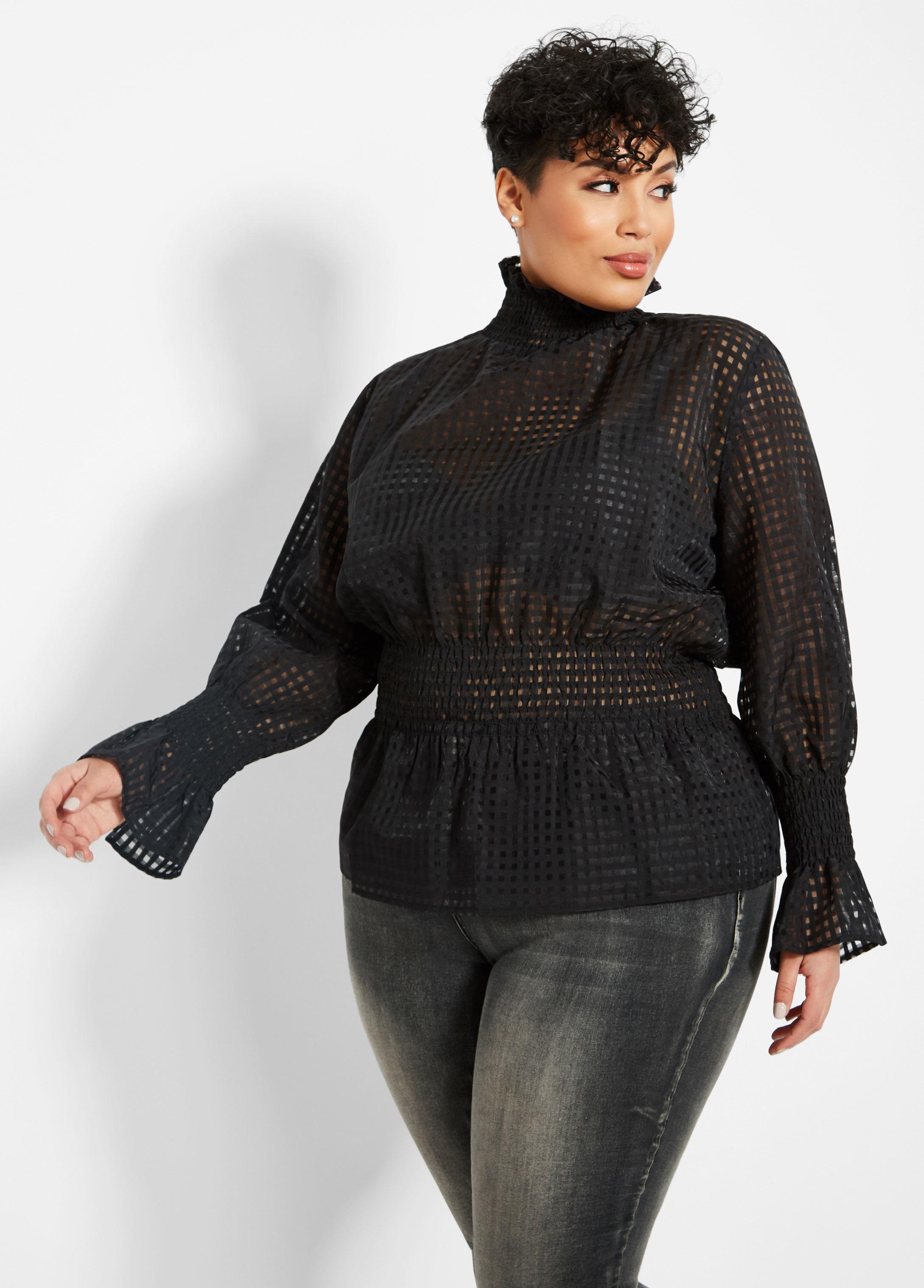 e7f855c67e6 Lyst - Ashley Stewart Plus Size Textured Smock Waist Top in Black