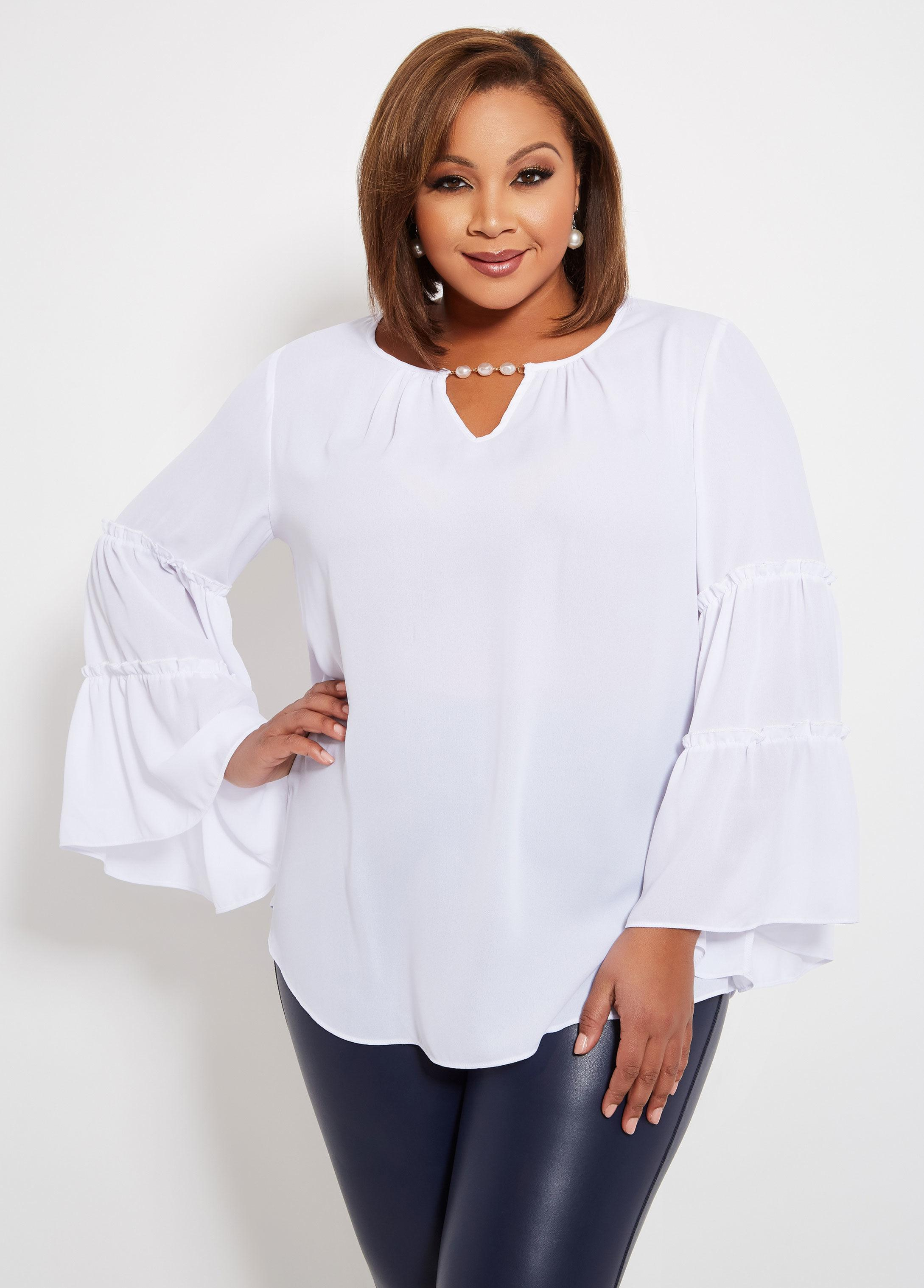 535e7b73631 Lyst - Ashley Stewart Plus Size Tall Keyhole Tiered Sleeve Blouse in ...