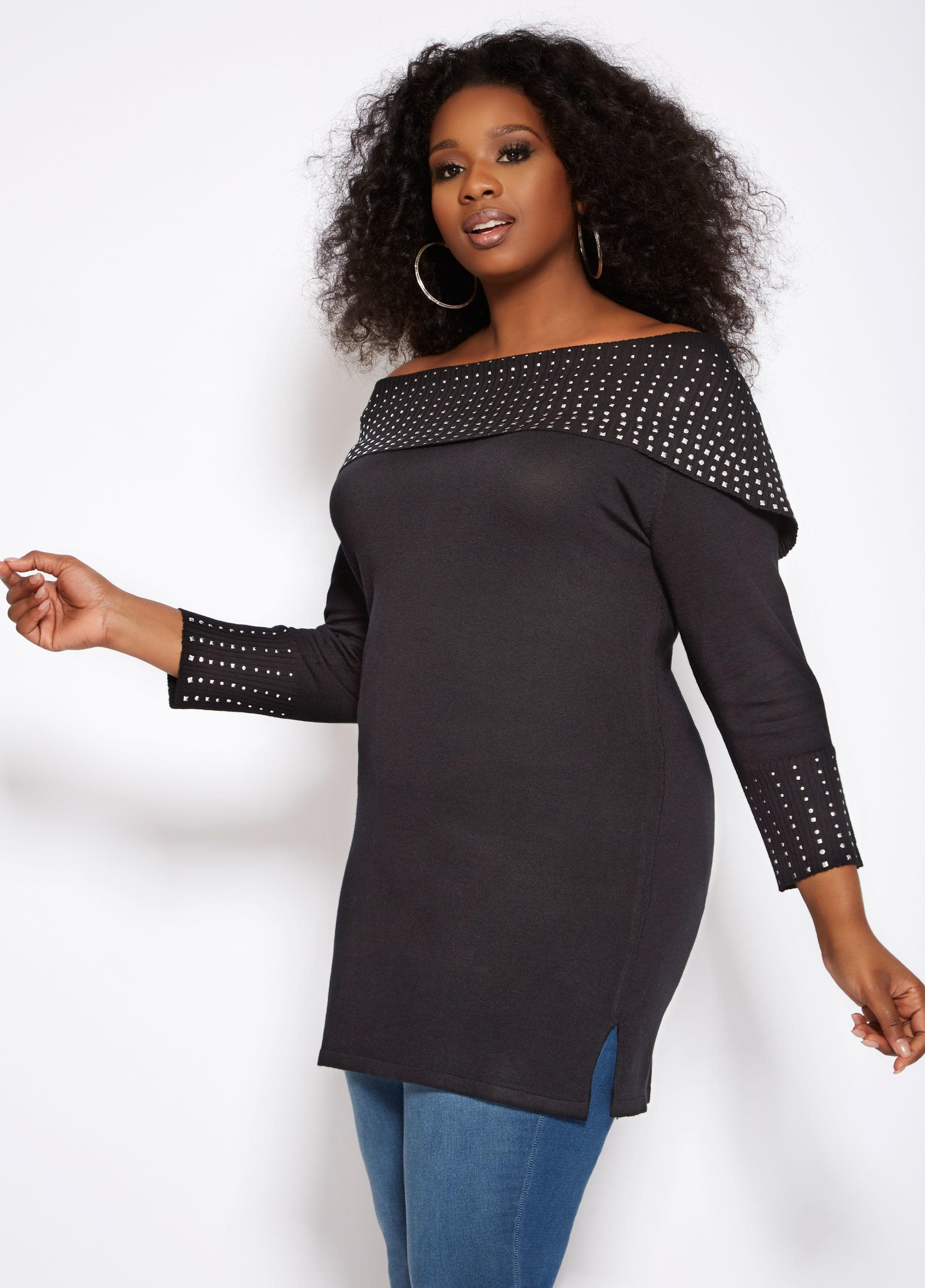 be14006288805 Lyst - Ashley Stewart Plus Size Studded Off The Shoulder Sweater in ...