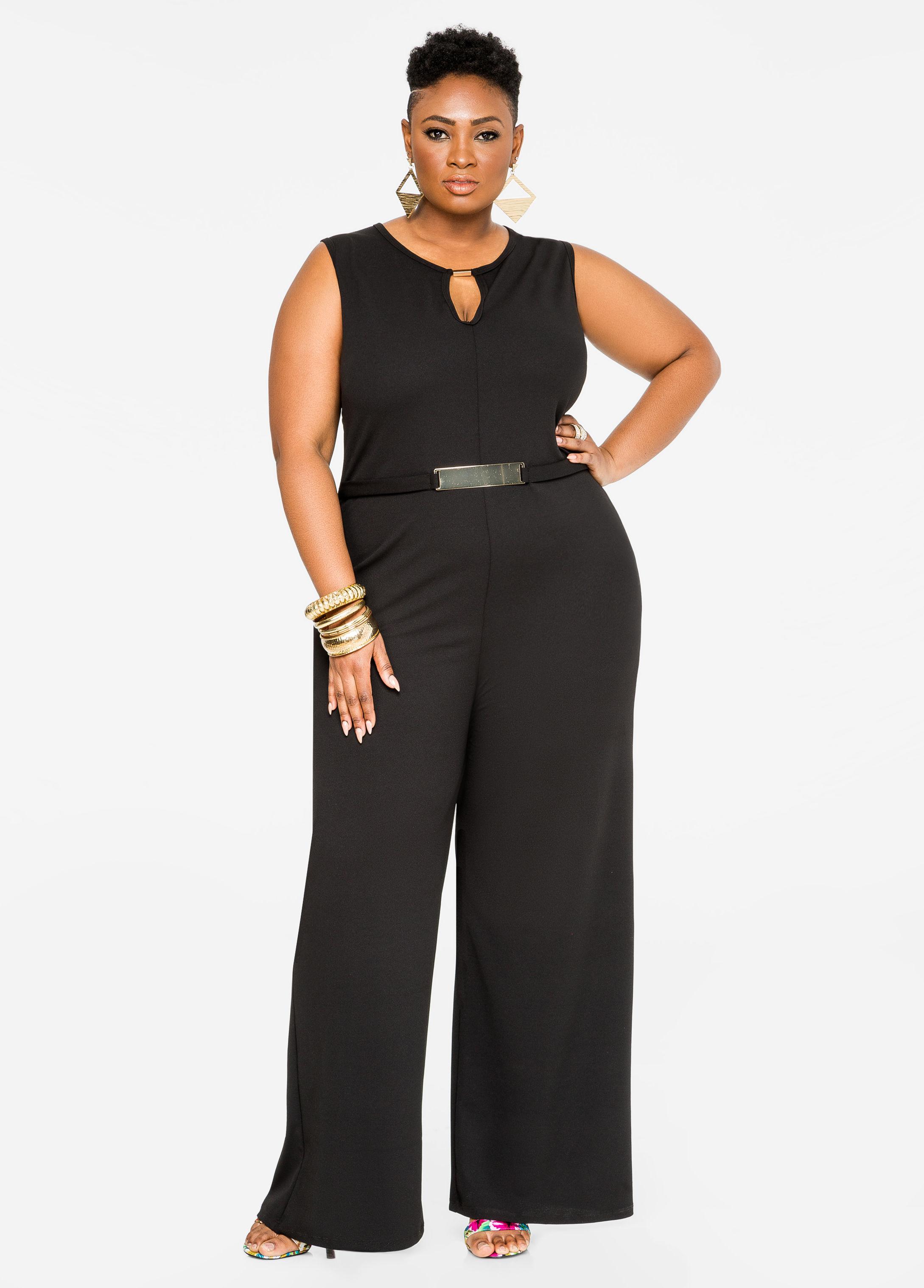 efd9fc1841a06 Lyst - Ashley Stewart Gold Bar Wide Leg Jumpsuit in Black