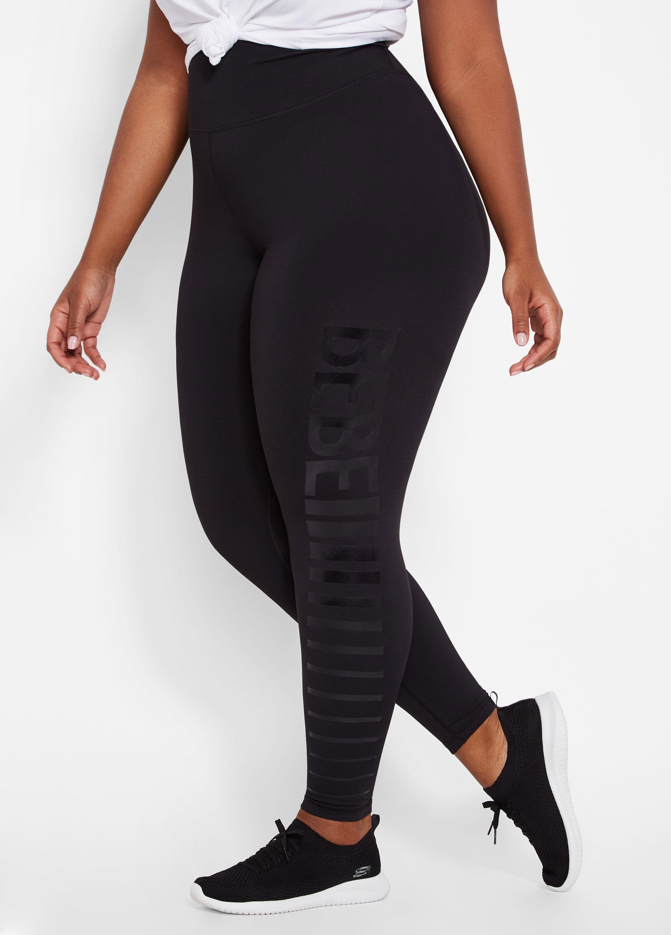 3fc180007aae7 Ashley Stewart Plus Size Bebe Block Stacked Logo Legging in Black - Lyst