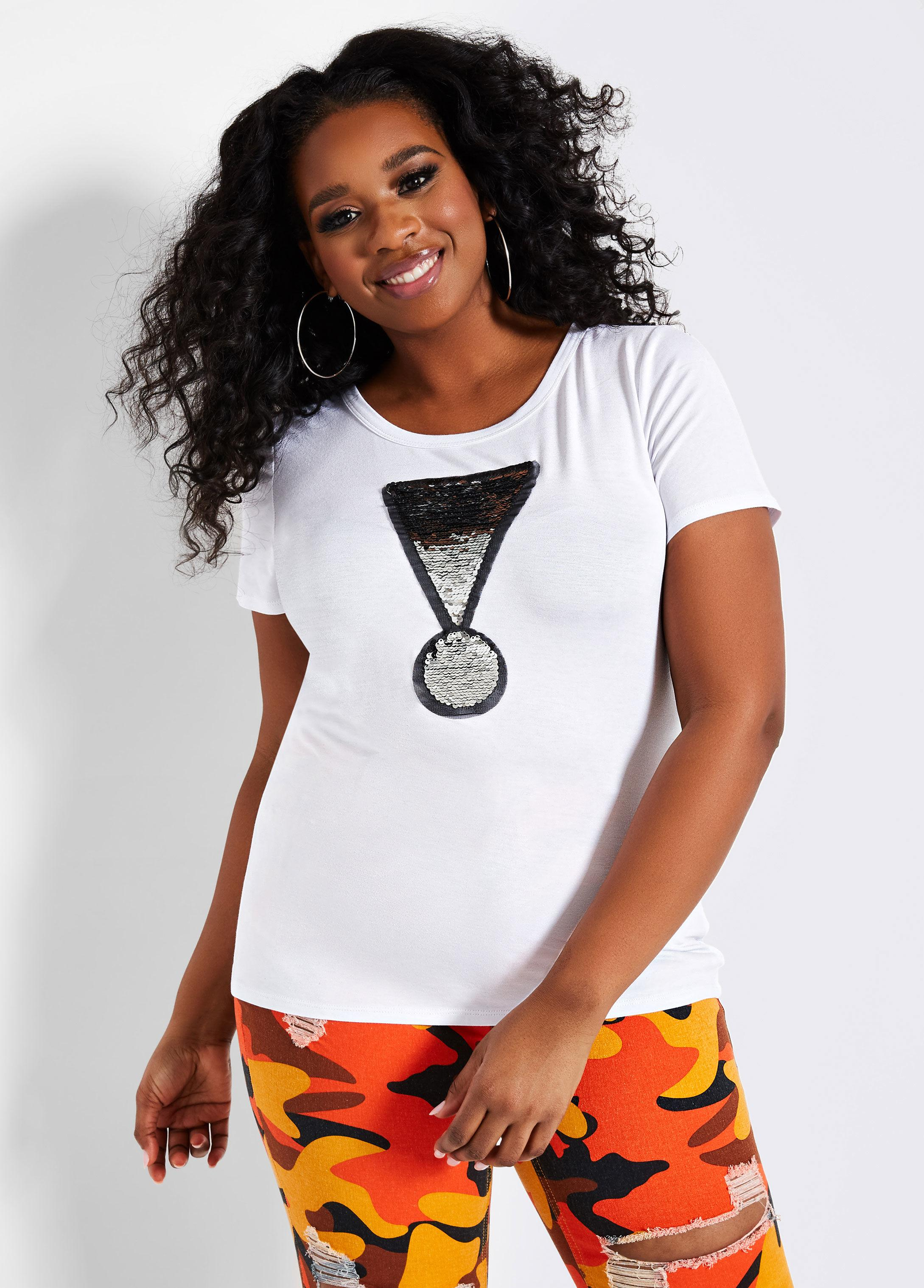 a74dc0e51bf7c8 Lyst - Ashley Stewart Plus Size Sequin Flip Exclamation Point Tee in ...