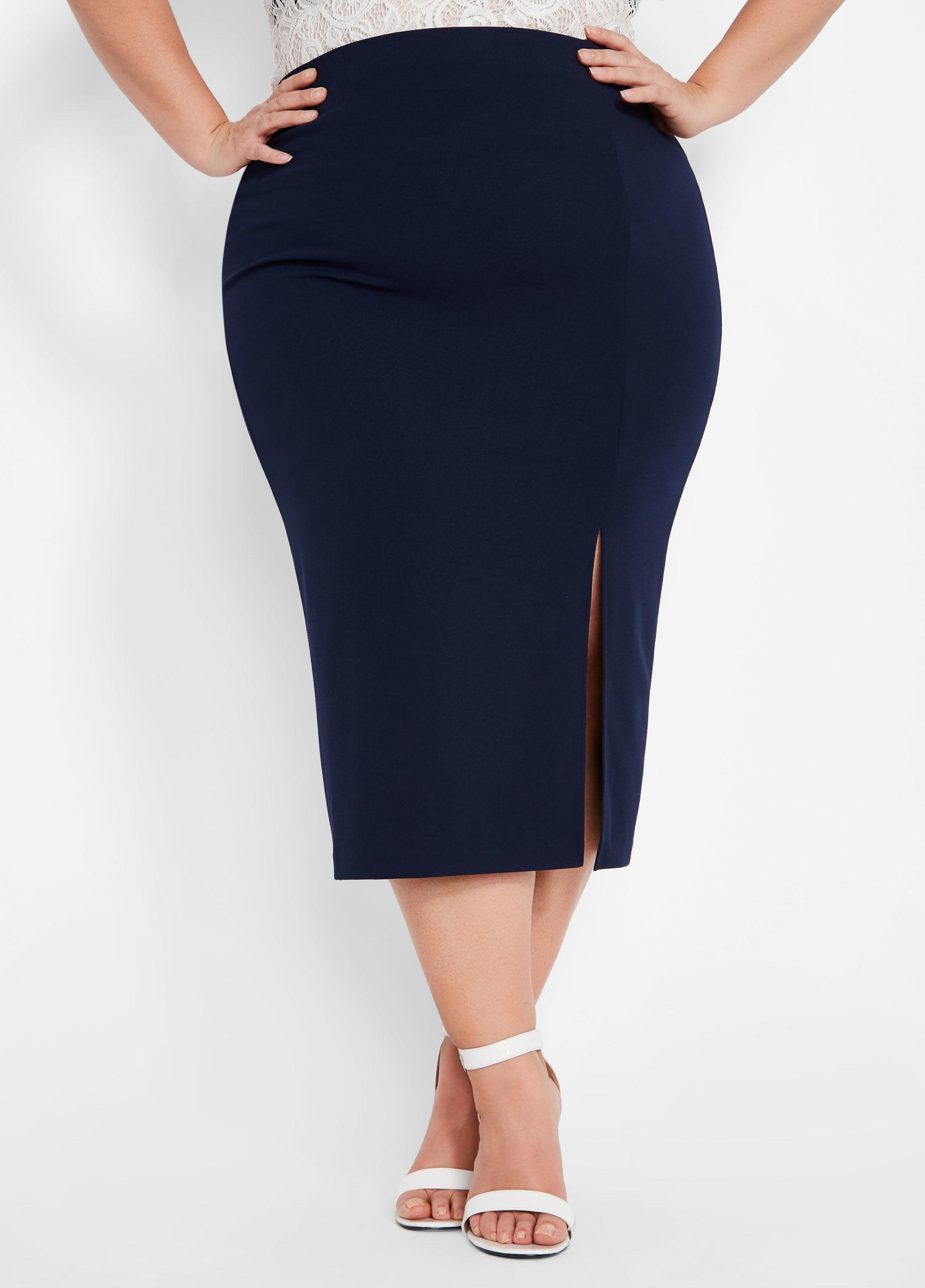 56ab79d2c5 Lyst - Ashley Stewart Plus Size Crepe Pencil Skirt in Blue