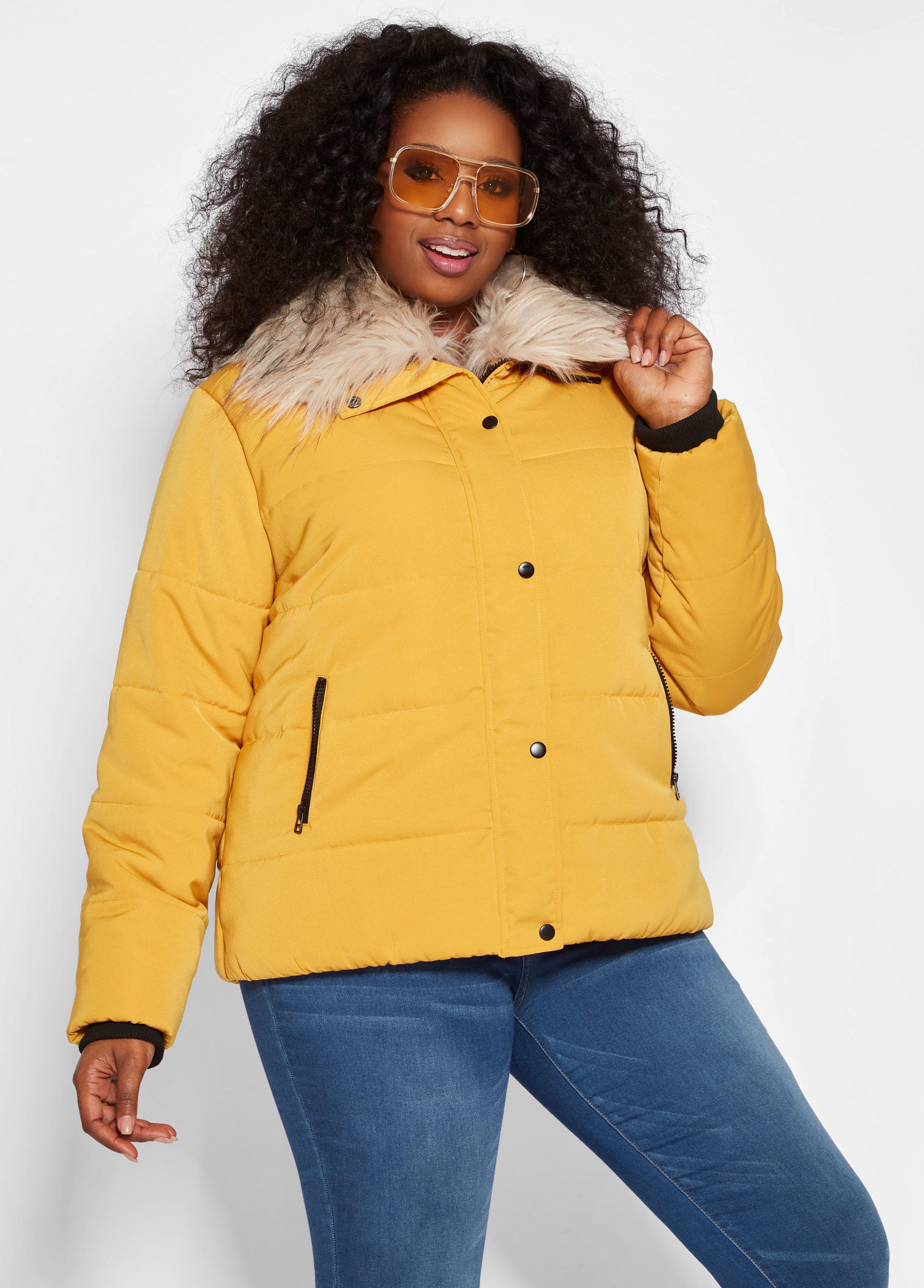 a6c1012b7e2 Lyst - Ashley Stewart Plus Size Faux Fur Puffer Jacket in Yellow