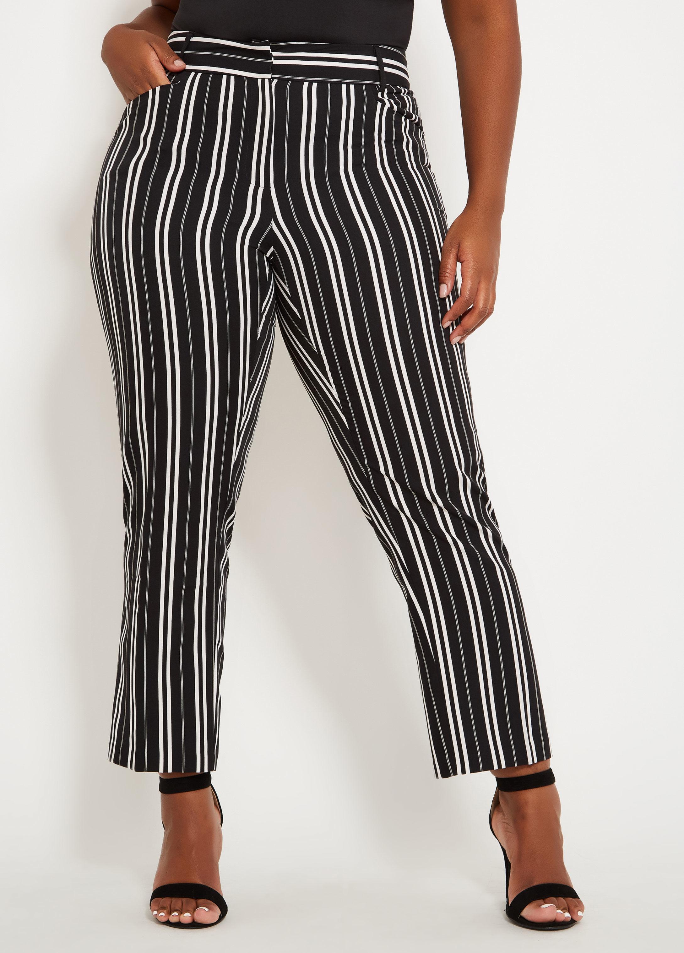 08050ba359718 Lyst - Ashley Stewart Plus Size Striped Ankle Pant in Black