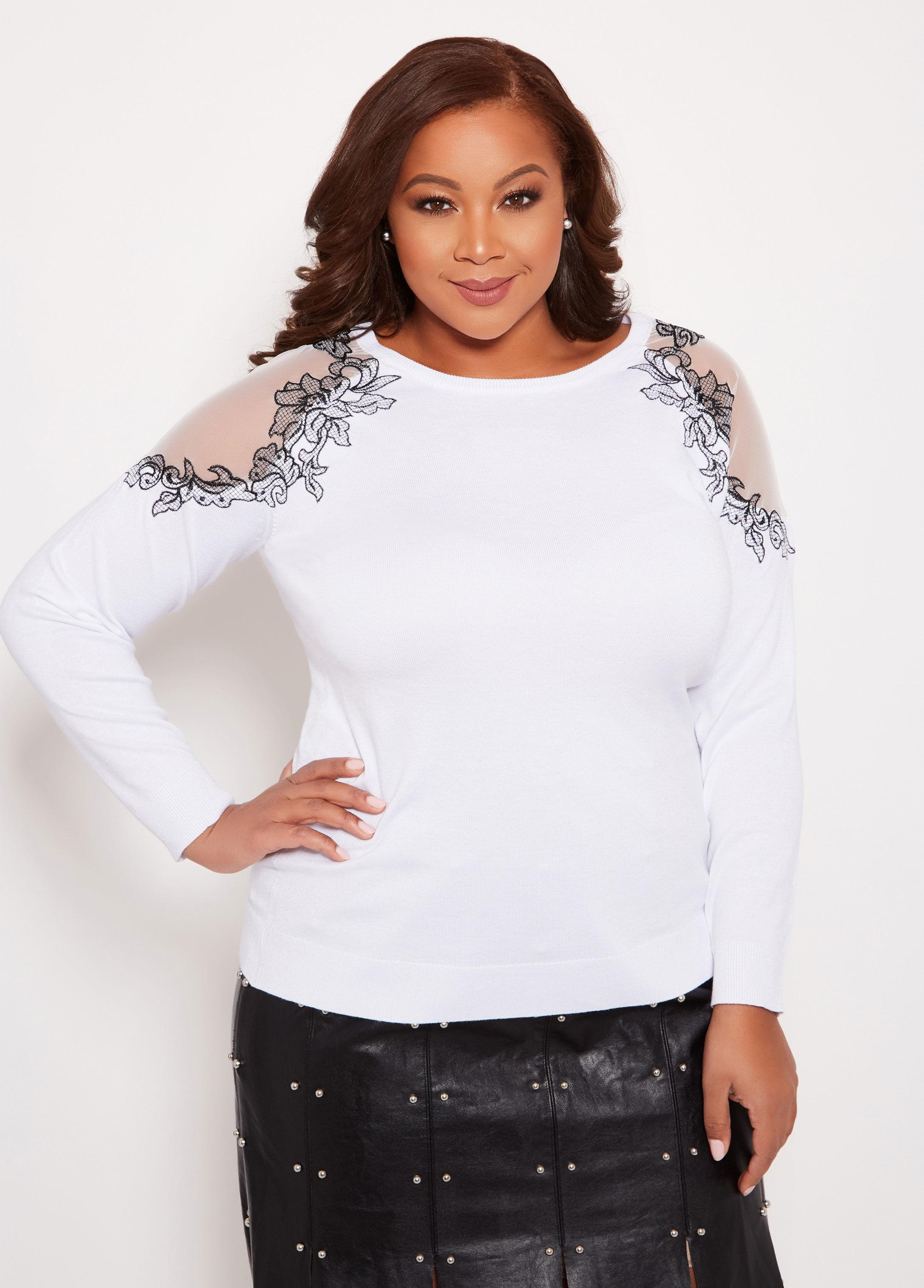 87fc34f944b Lyst - Ashley Stewart Plus Size Sweater With Mesh Embroidery in White