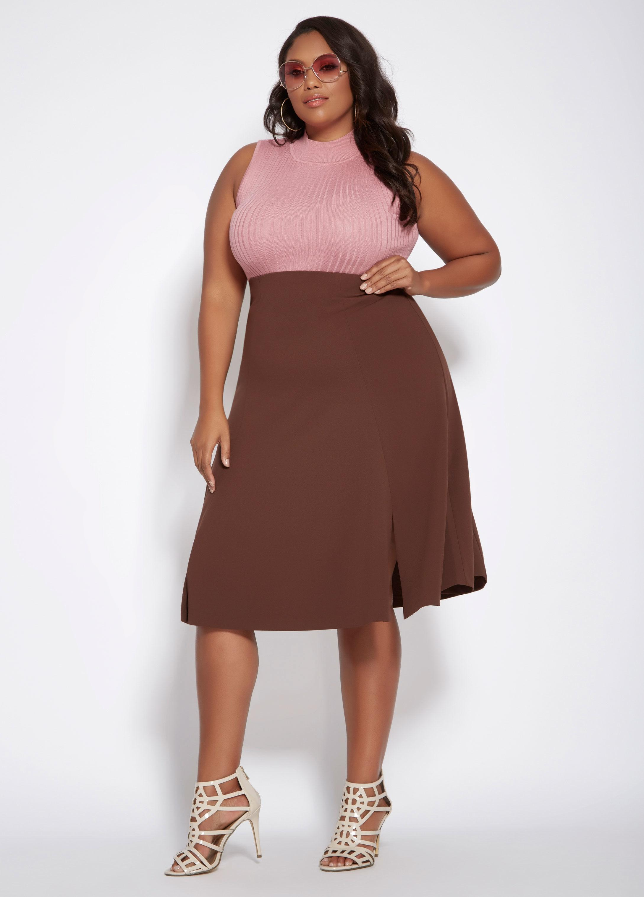 060d8582831d5 Ashley Stewart Plus Size Scuba Crepe Flare Skirt in Brown - Lyst