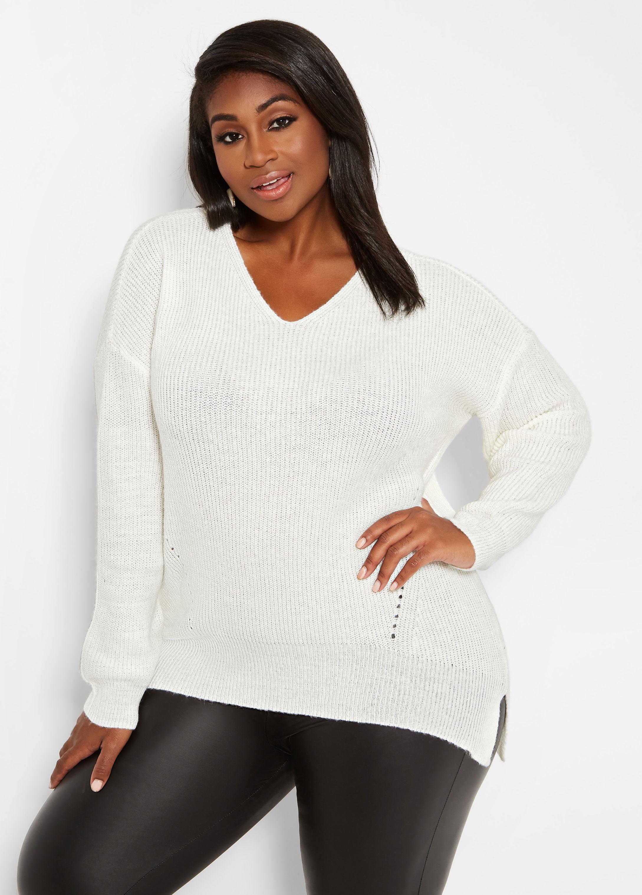 1c1295bff71 Lyst - Ashley Stewart Plus Size Hi Lo Cutout Sweater in White
