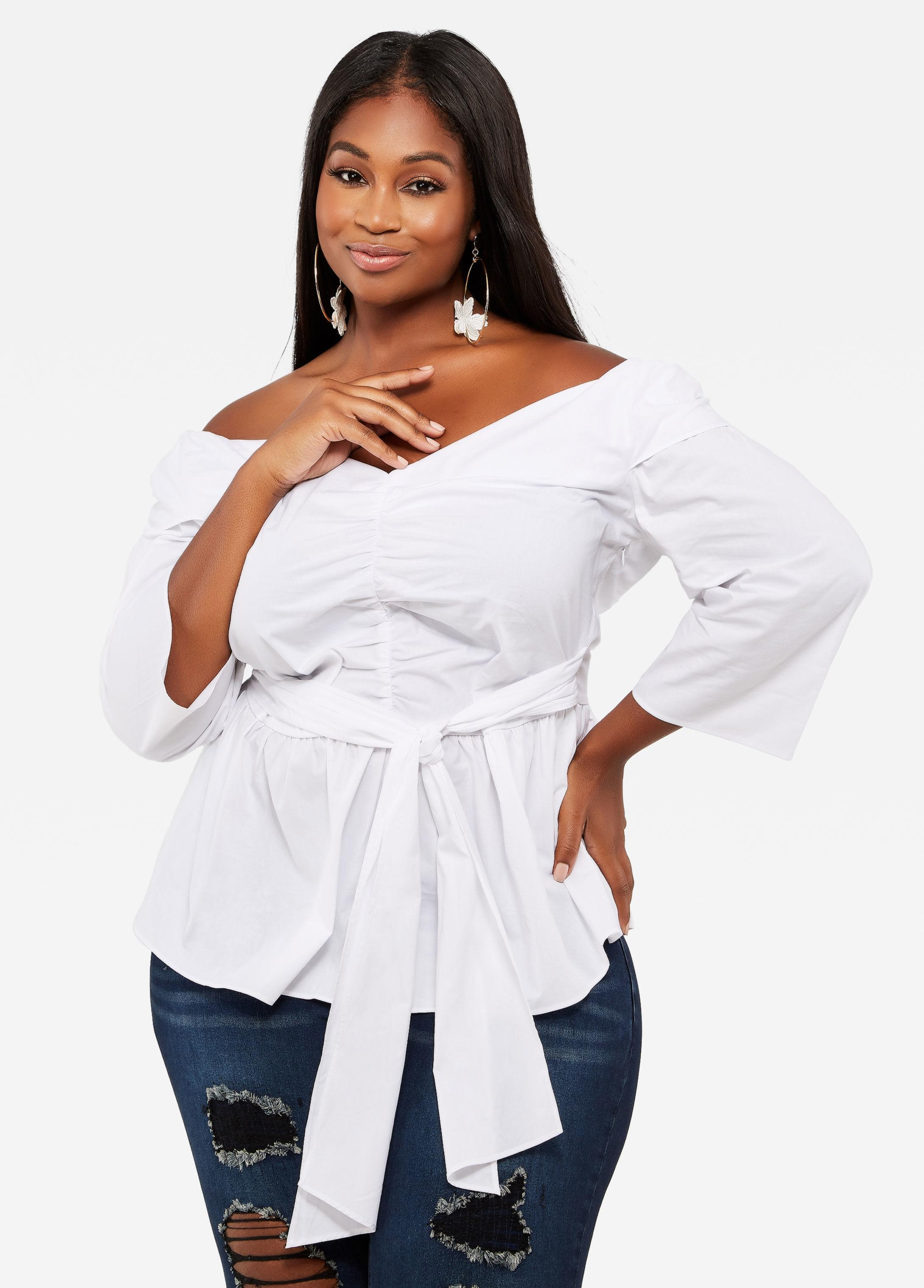 4f5b01a5399ca Lyst - Ashley Stewart Plus Size Ruched Front Belted Peplum Top in White