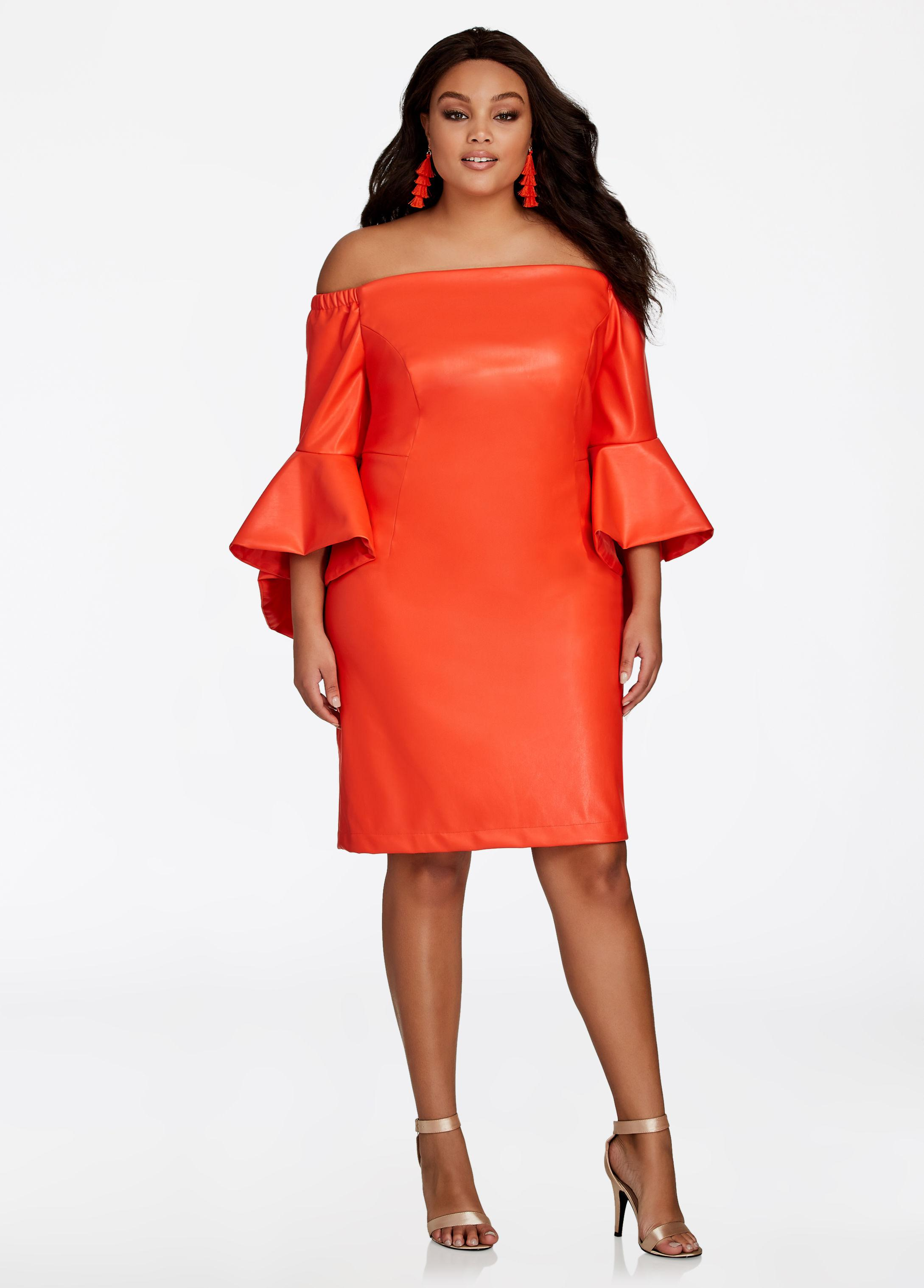 Lyst - Ashley Stewart Off Shoulder Faux Leather Dress in Orange