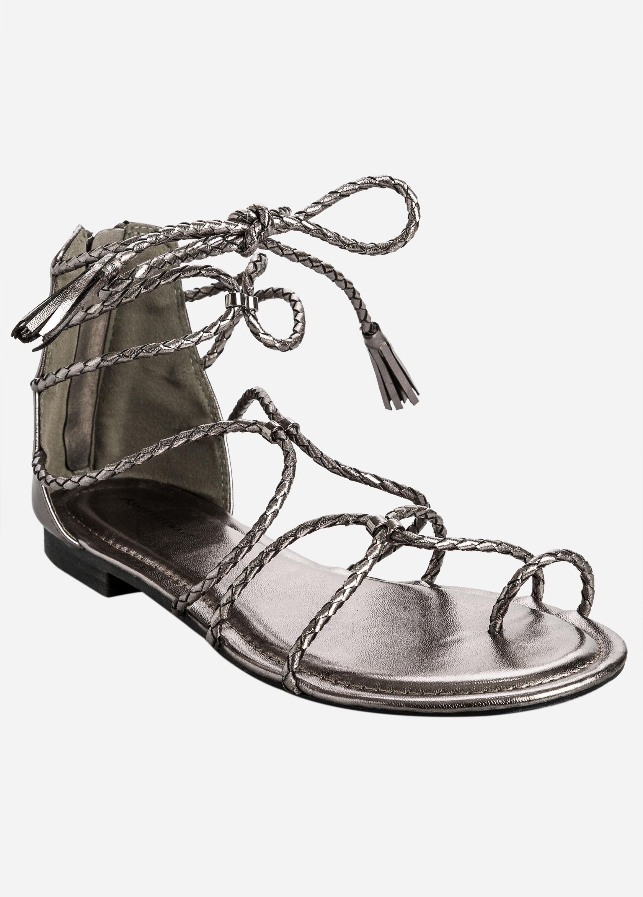 e84b31ed2 Lyst - Ashley Stewart Flat Braided Gladiator - Wide Width