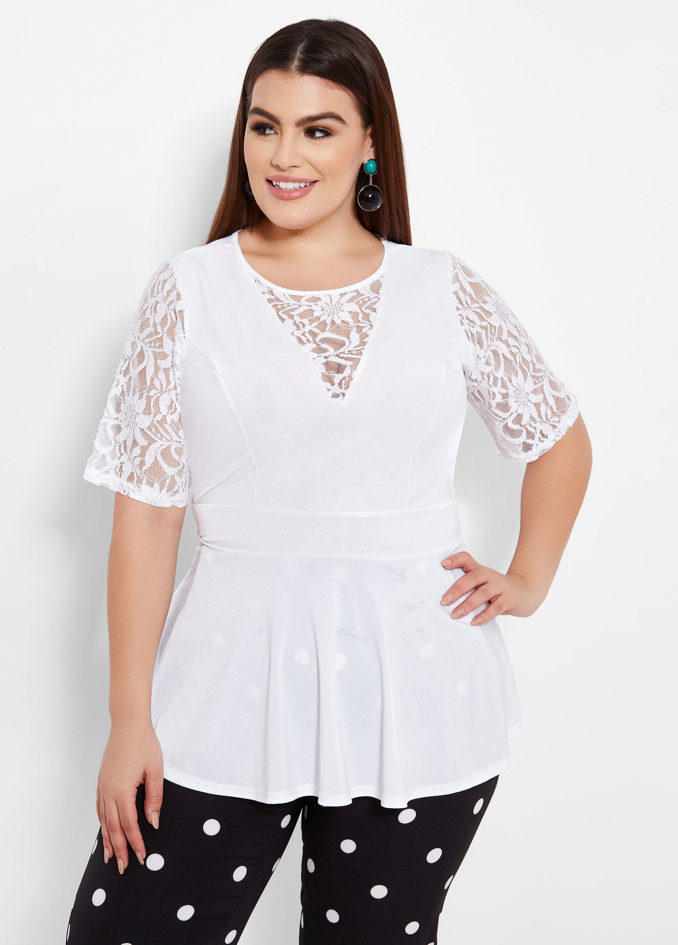 a4577a82110 Lyst - Ashley Stewart Plus Size Elbow Sleeve Peplum Top With Lace in ...