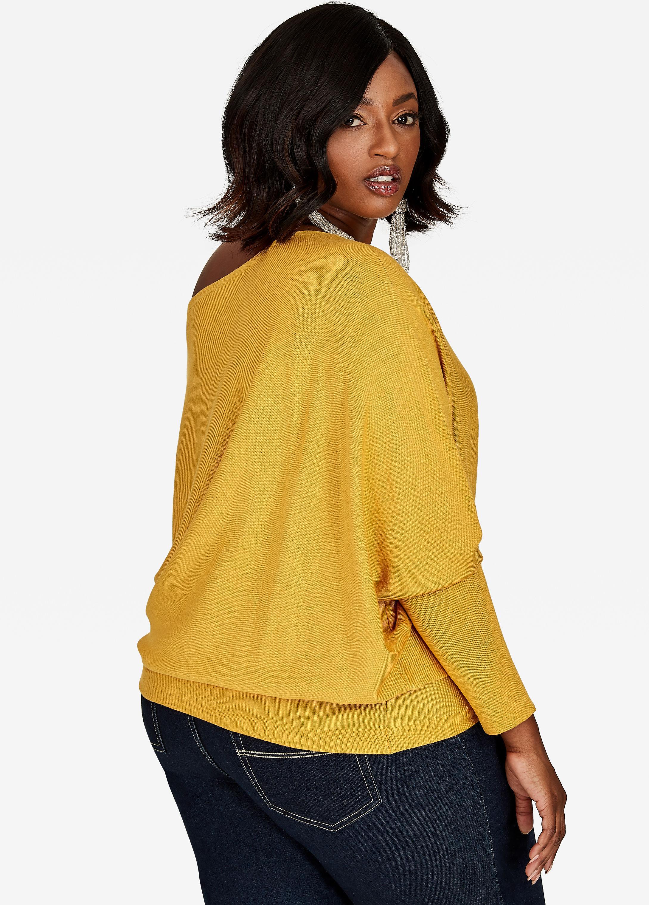 Ashley stewart Dolman Sleeve Asymmetrical Tunic Sweater in Yellow ...