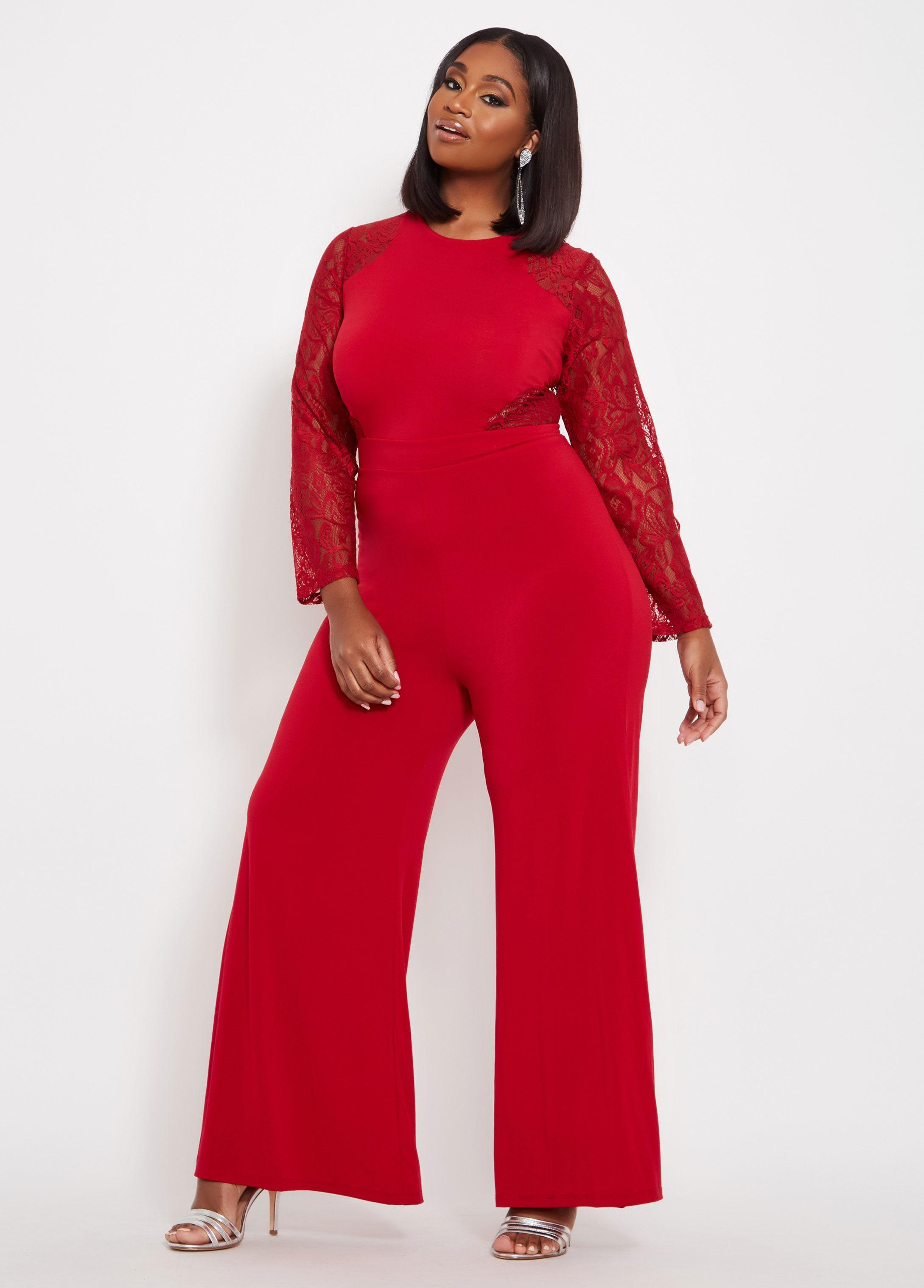 6bc1d83571b Lyst - Ashley Stewart Plus Size Tall Lace Long Sleeve Jumpsuit in Red