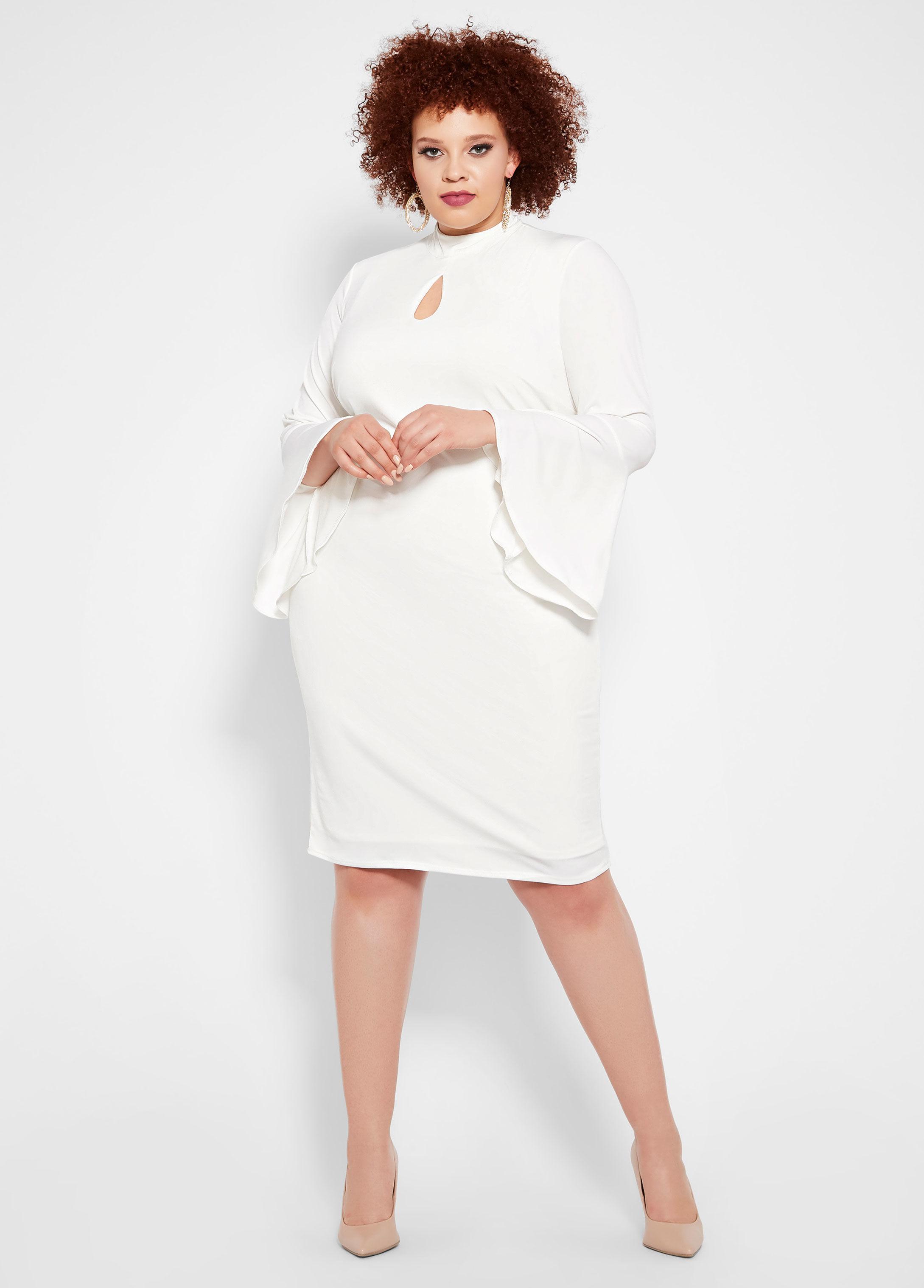 50a2871fbca Lyst - Ashley Stewart Plus Size Mock Neck Keyhole Dress in White