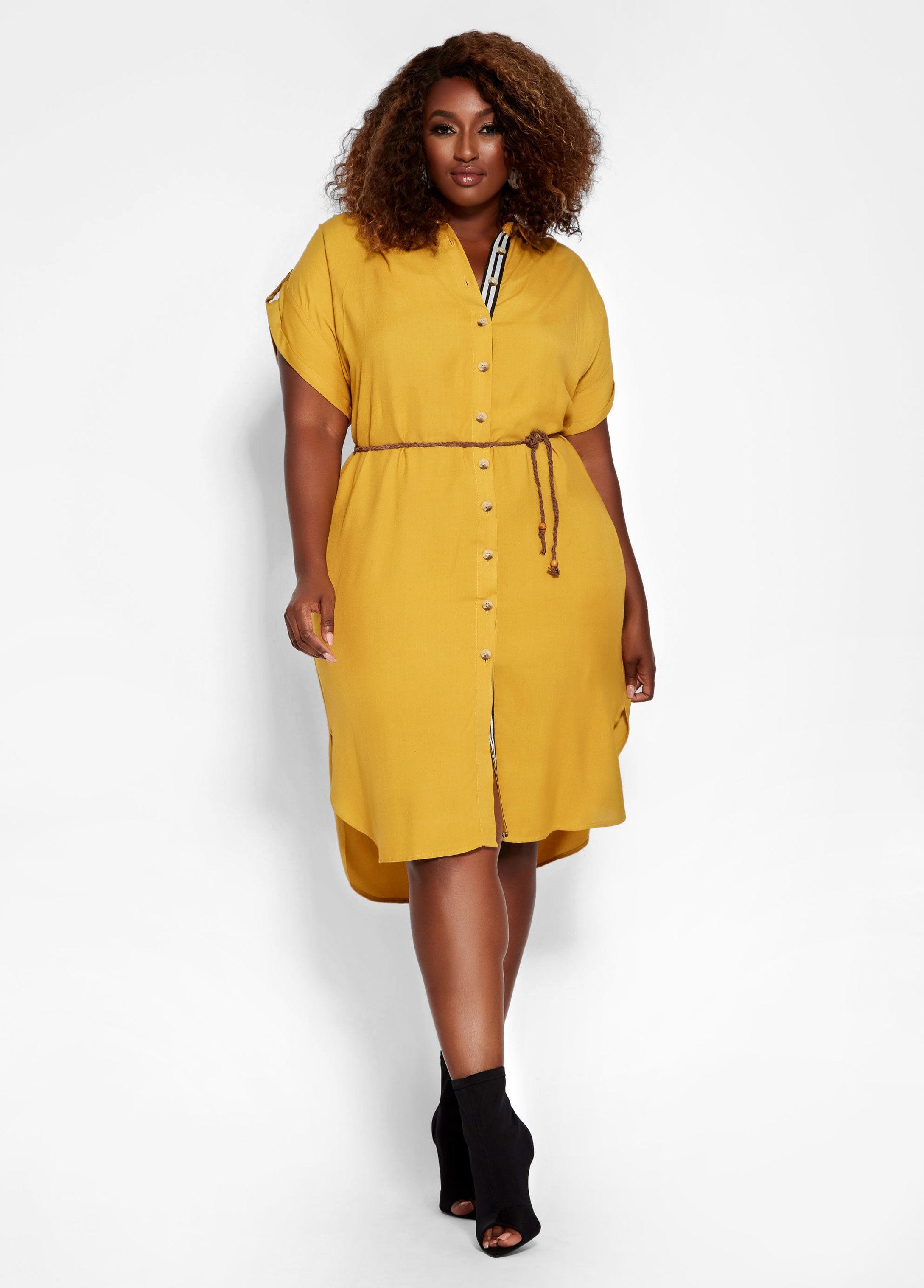 Lyst - Ashley Stewart Plus Size Center Stripe Button Front Dress in ...