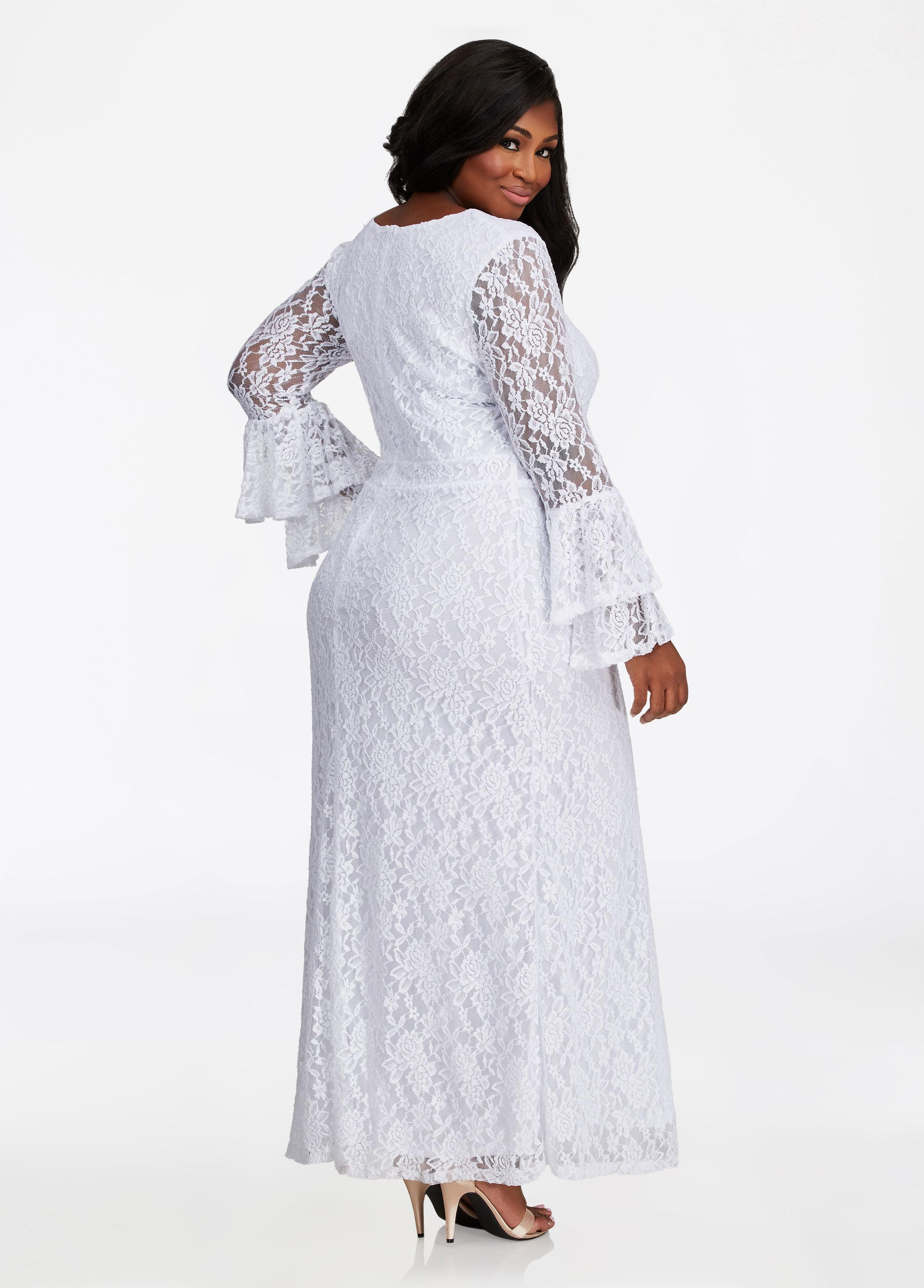 a6ff2d5e1ce Ashley Stewart Bell Sleeve Lace Maxi Dress in White - Lyst