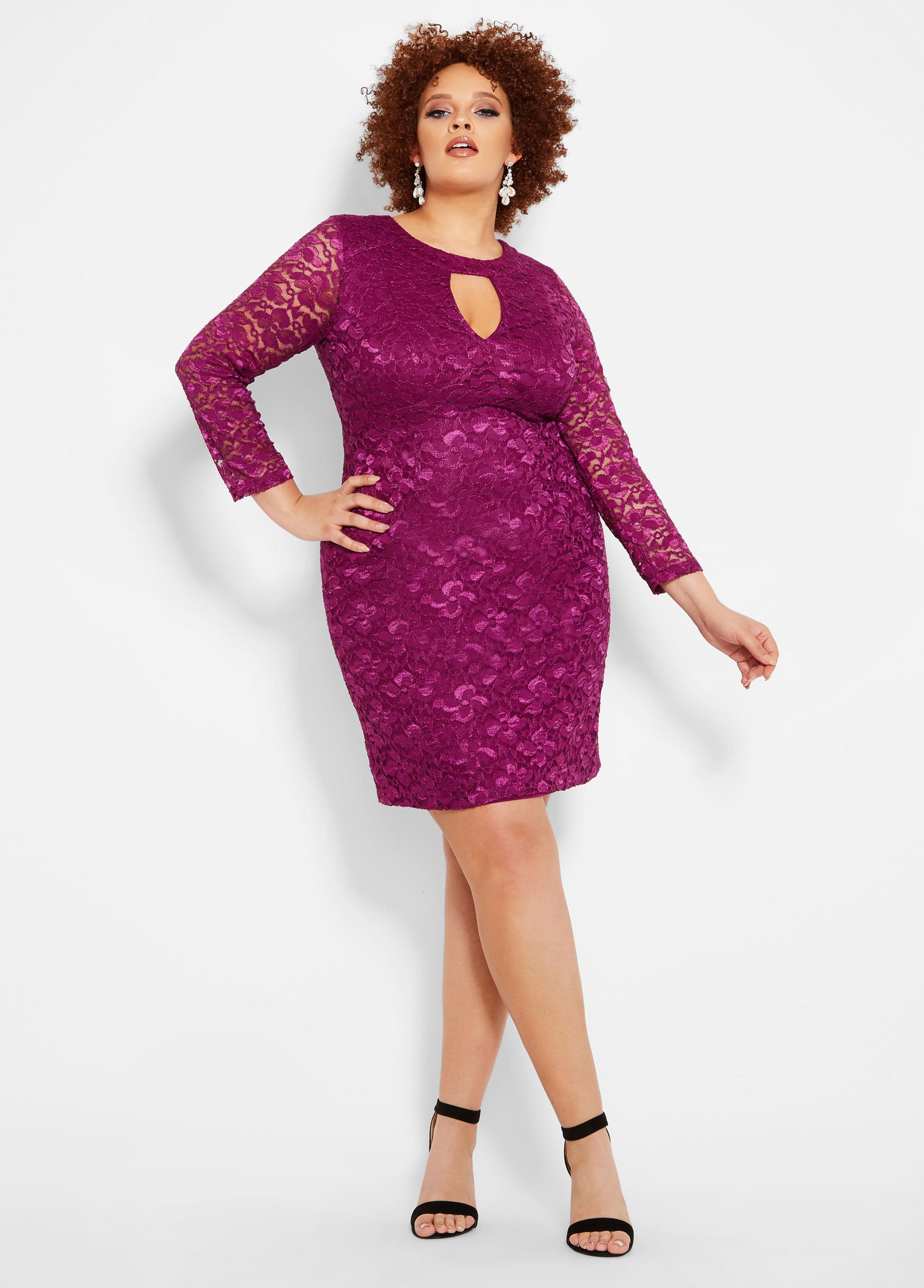 ab7cdf3ea9aef Lyst - Ashley Stewart Plus Size Cutout Lace Dress in Purple