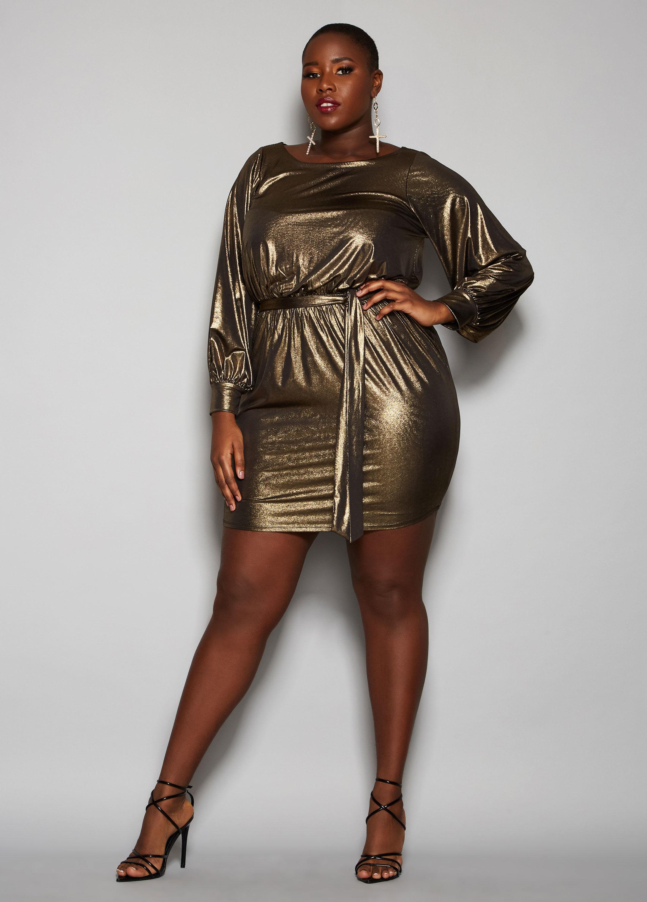 Lyst Ashley Stewart Plus Size The Rylee Dress In Metallic