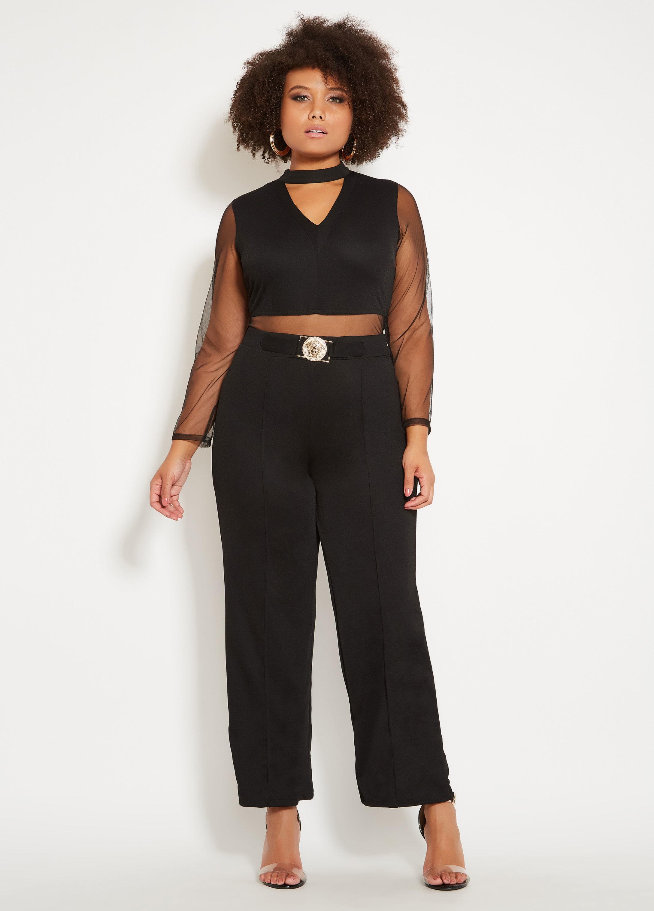 a0855d6b5ca23 Lyst - Ashley Stewart Plus Size Mesh Gold Belt Jumpsuit in Black
