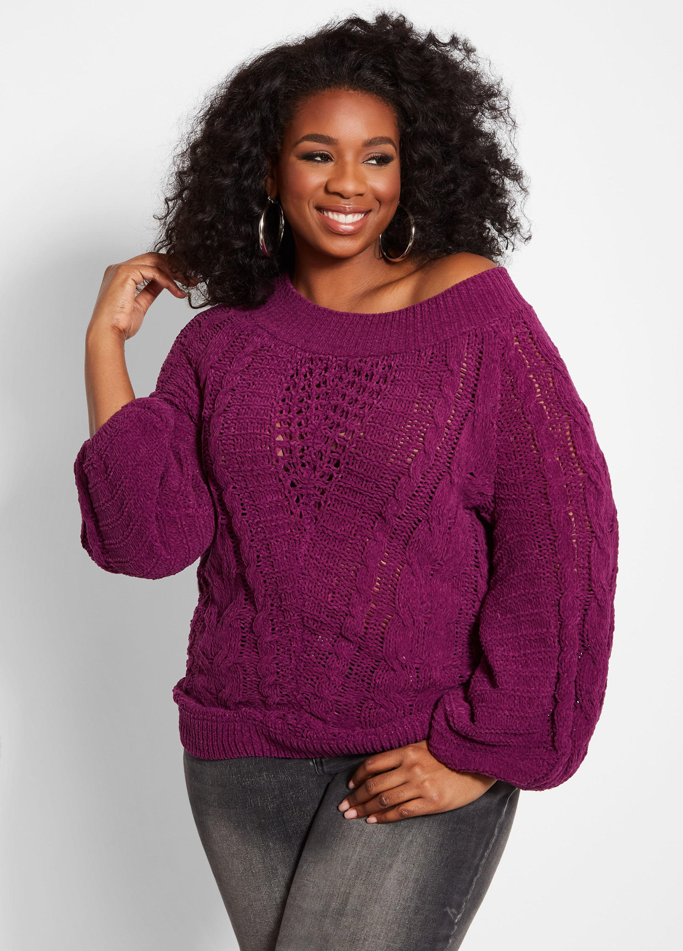 ad6aacfc1fc Lyst - Ashley Stewart Plus Size Chenille Cable Knit Sweater in Purple