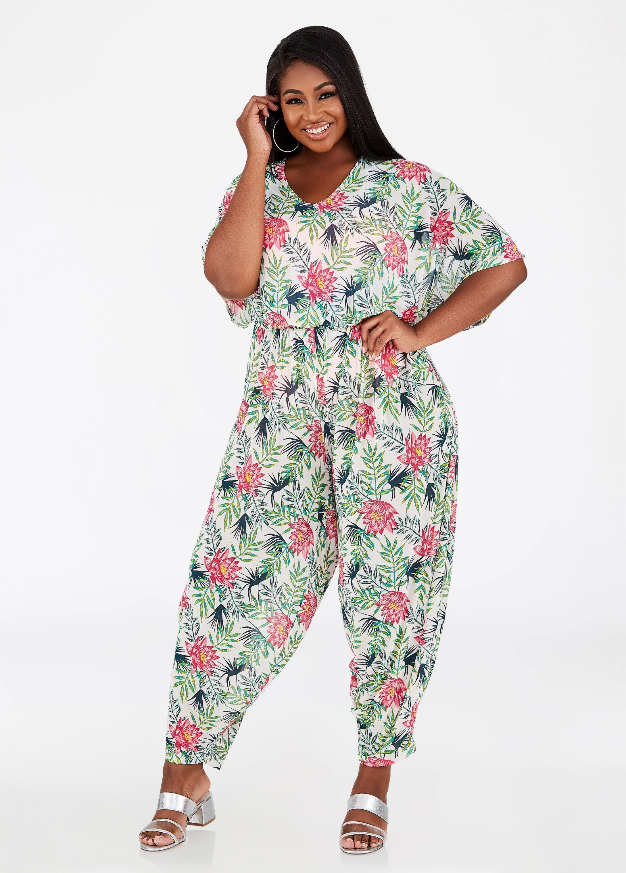 9e2117e1ea Lyst - Ashley Stewart Plus Size Floral Print Jumpsuit Cover Up in White