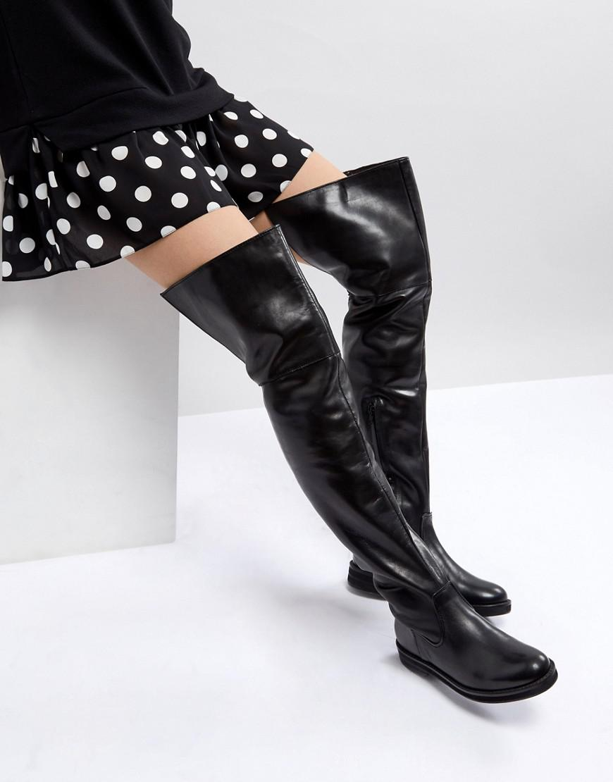 Cheap Sale Sale Knee High Leather Boot - Black Mango Cheap Newest Low Cost Cheap Price AgsToFj