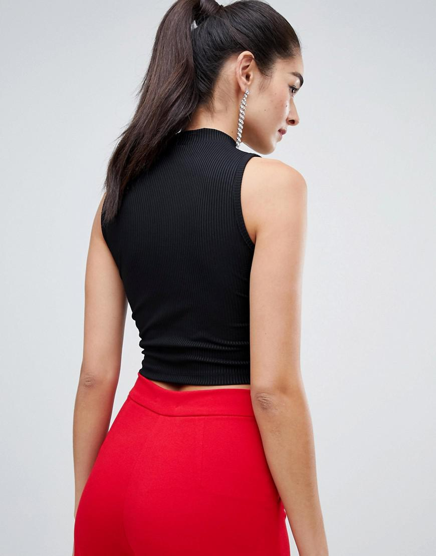18b050610b239 ASOS High Neck Sleeveless Crop Top With Keyhole Detail in Black - Lyst