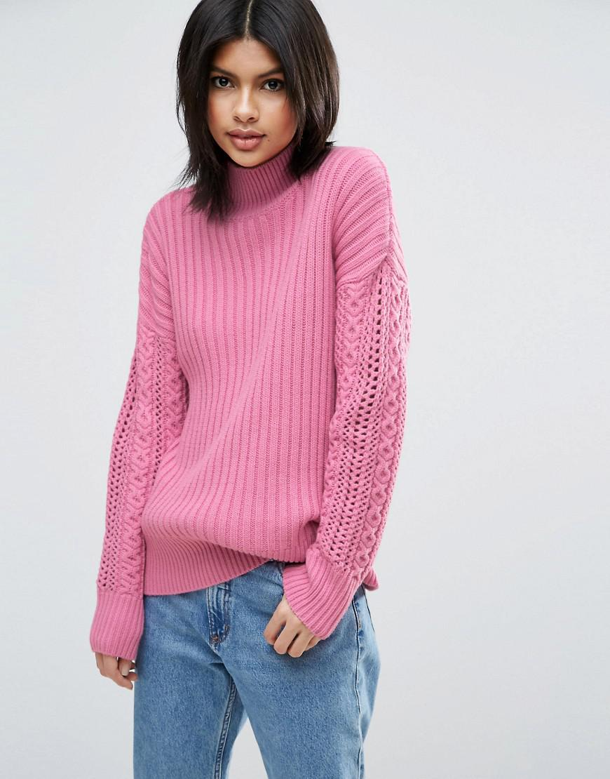 Asos High Neck Jumper With Cable Sleeves in Pink | Lyst