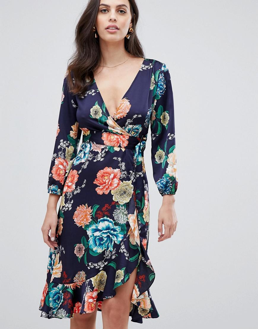 920125e141d Liquorish Floral Print Wrap Midi Dress - Data Dynamic AG